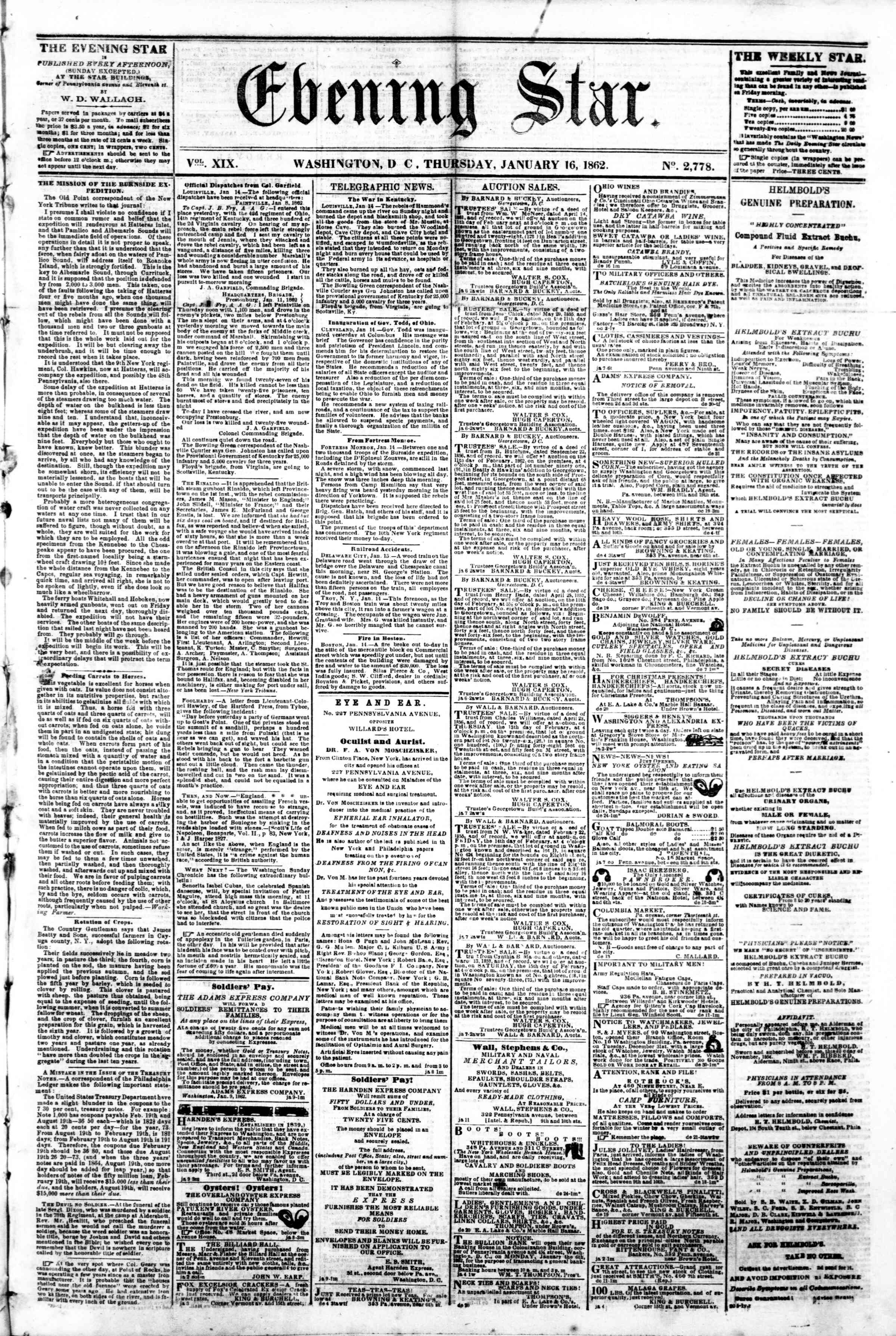 Newspaper of Evening Star dated January 16, 1862 Page 1