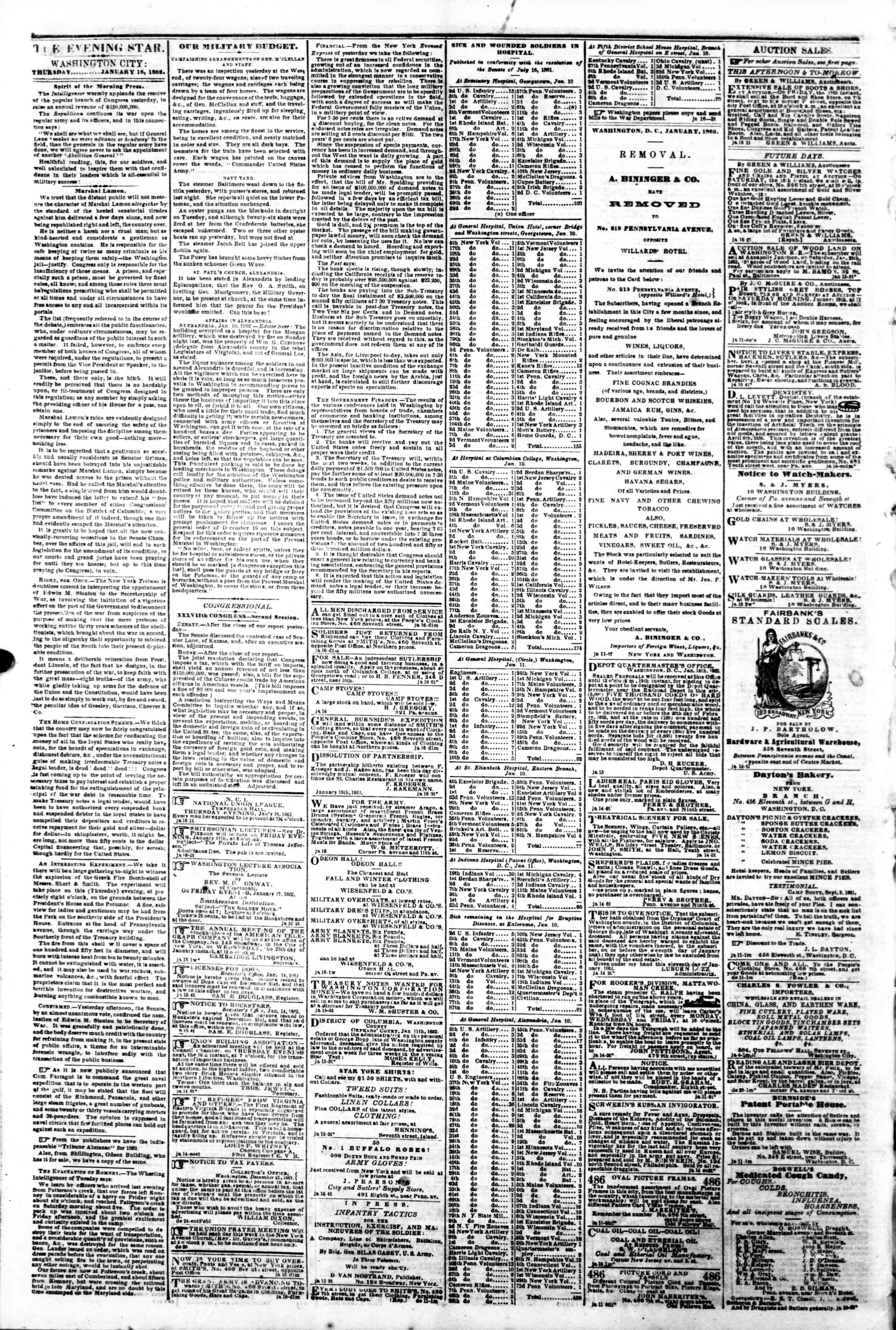 Newspaper of Evening Star dated January 16, 1862 Page 2