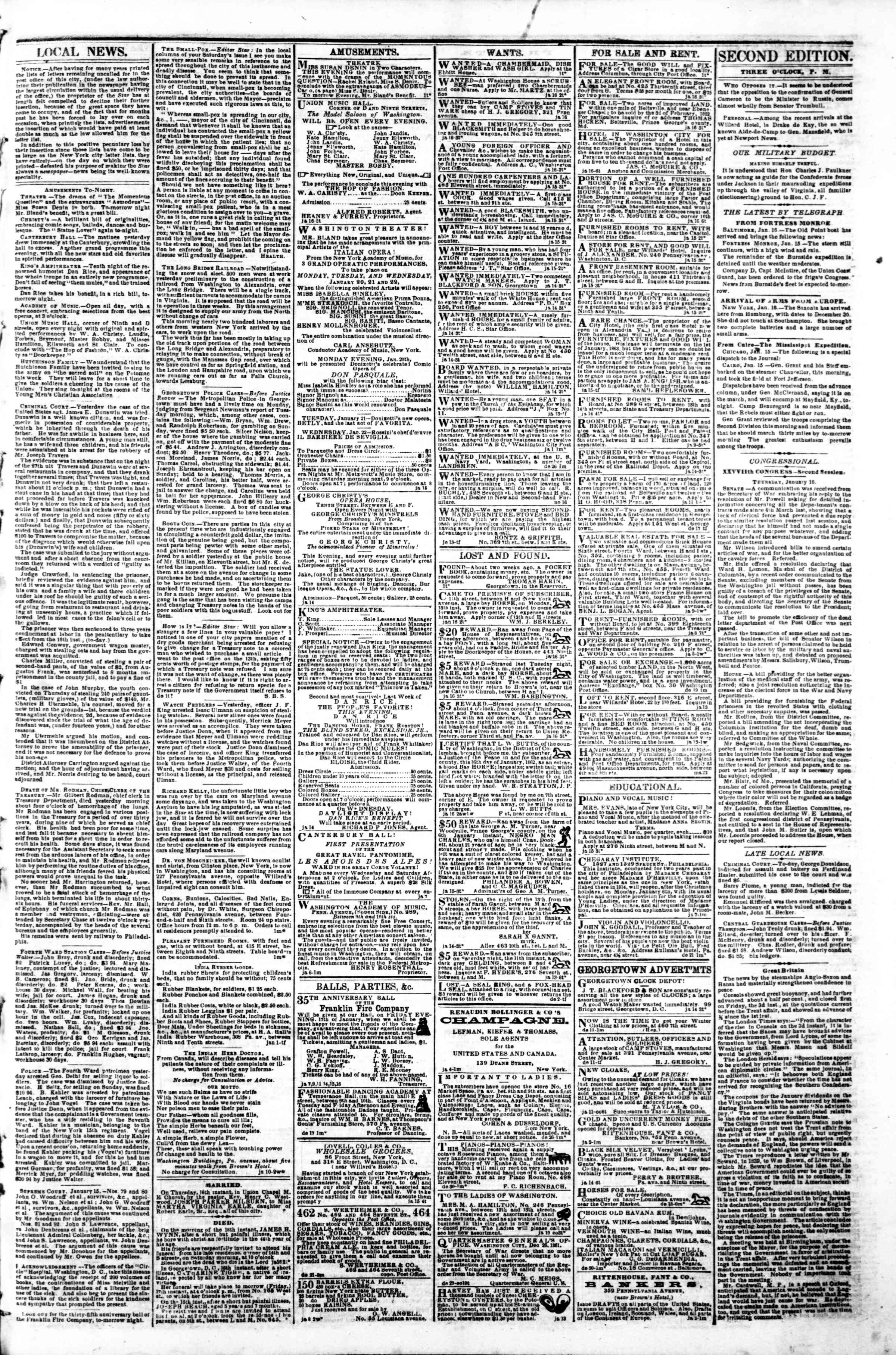Newspaper of Evening Star dated January 16, 1862 Page 3