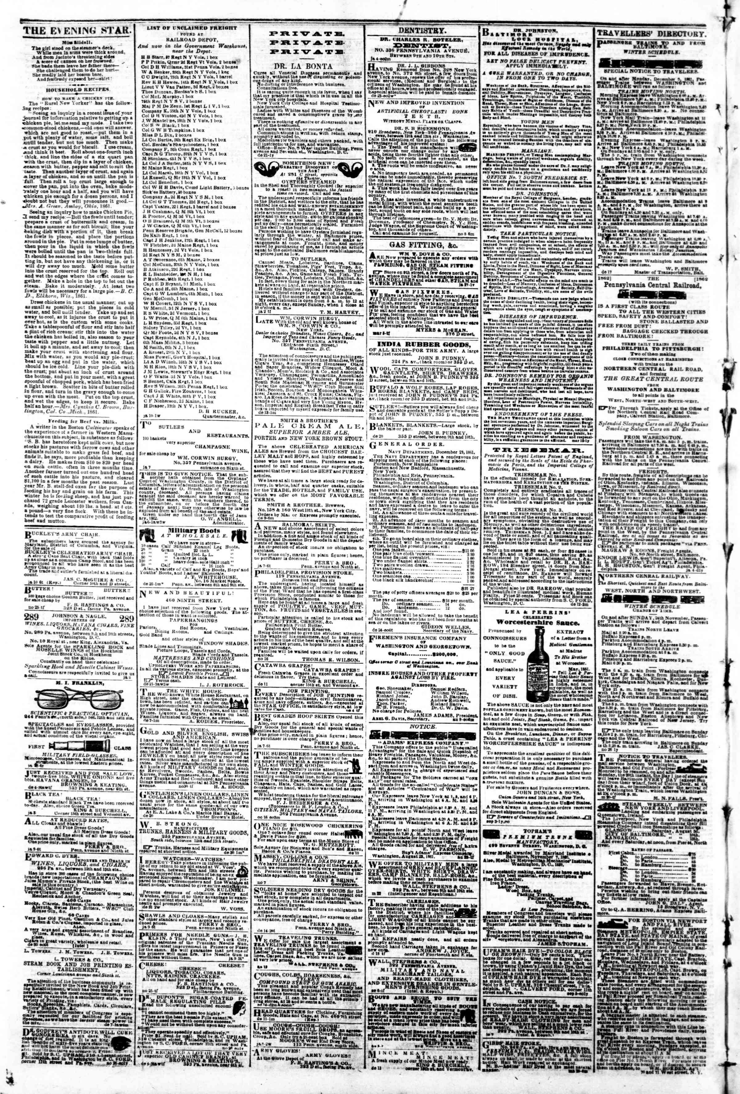 Newspaper of Evening Star dated January 16, 1862 Page 4