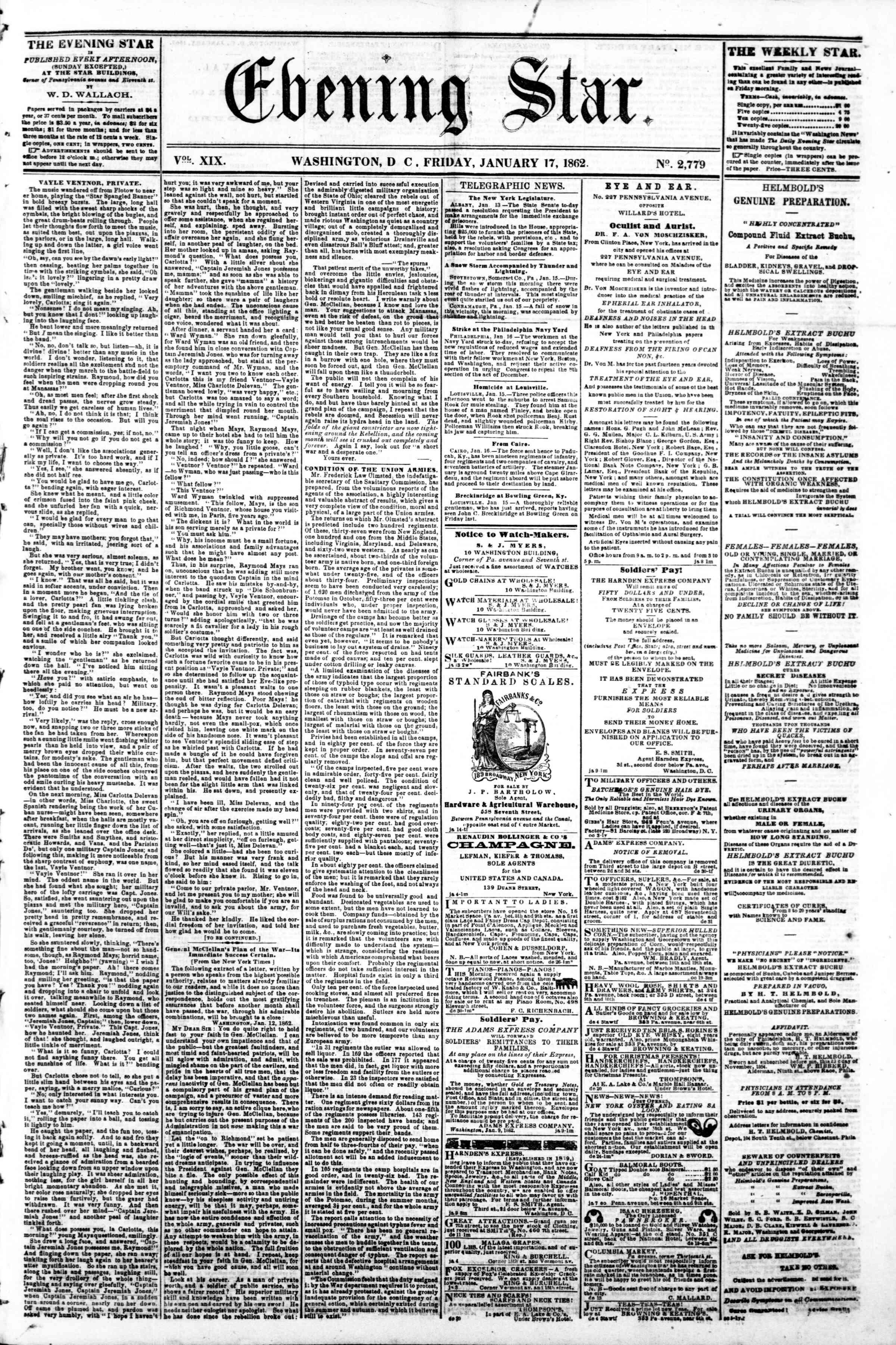 17 Ocak 1862 tarihli Evening Star Gazetesi Sayfa 1