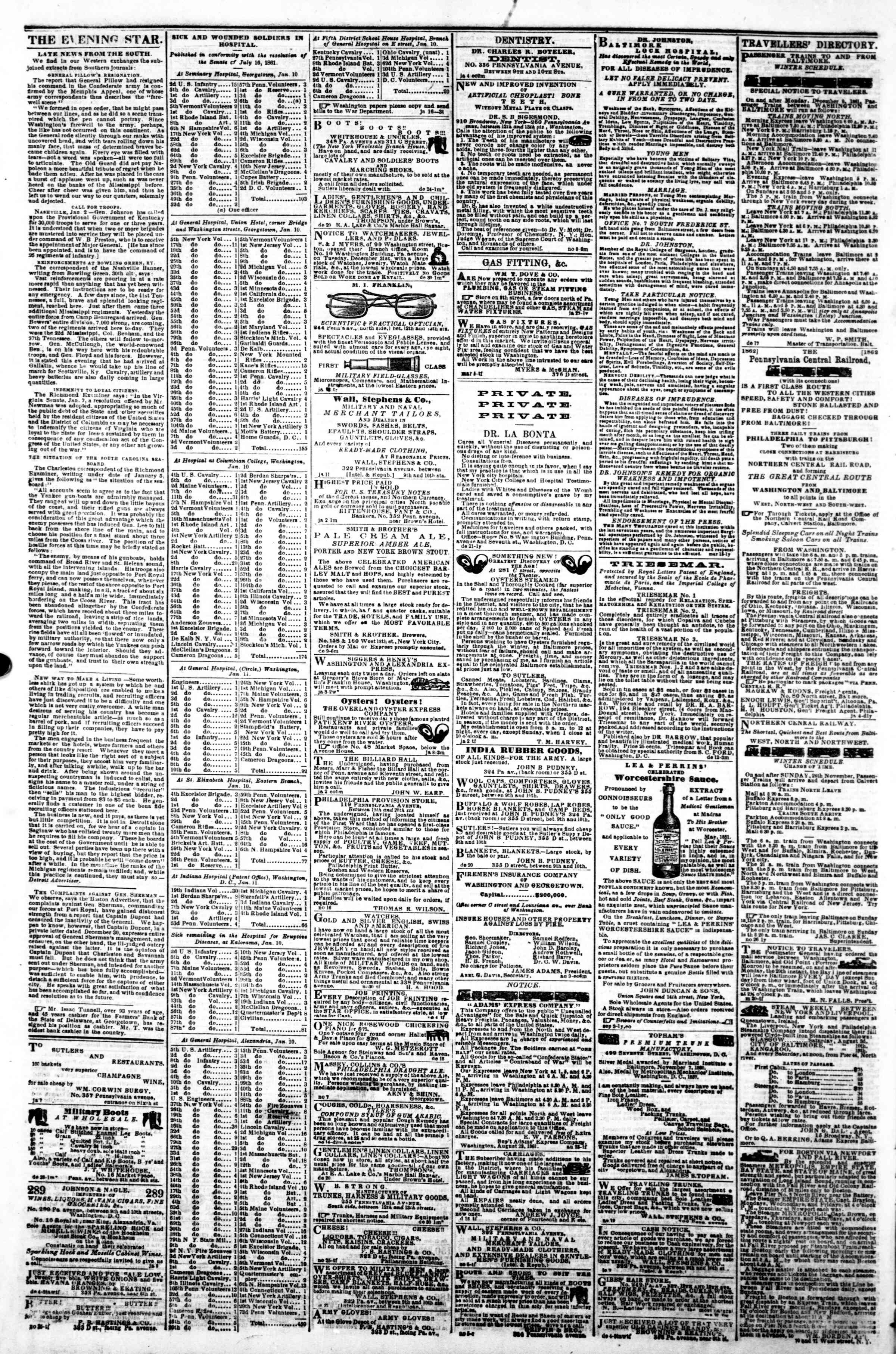 Newspaper of Evening Star dated January 17, 1862 Page 4