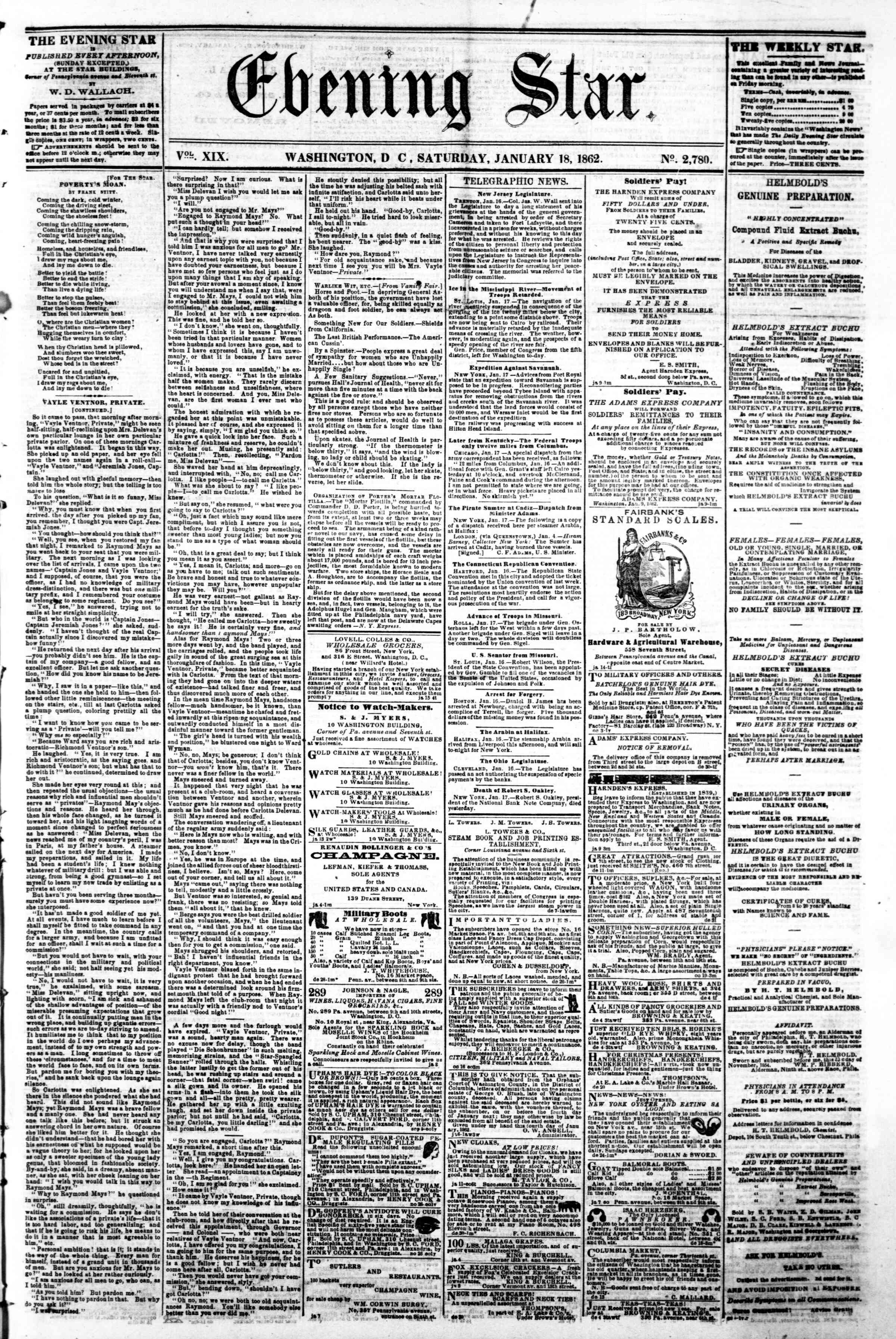 Newspaper of Evening Star dated January 18, 1862 Page 1