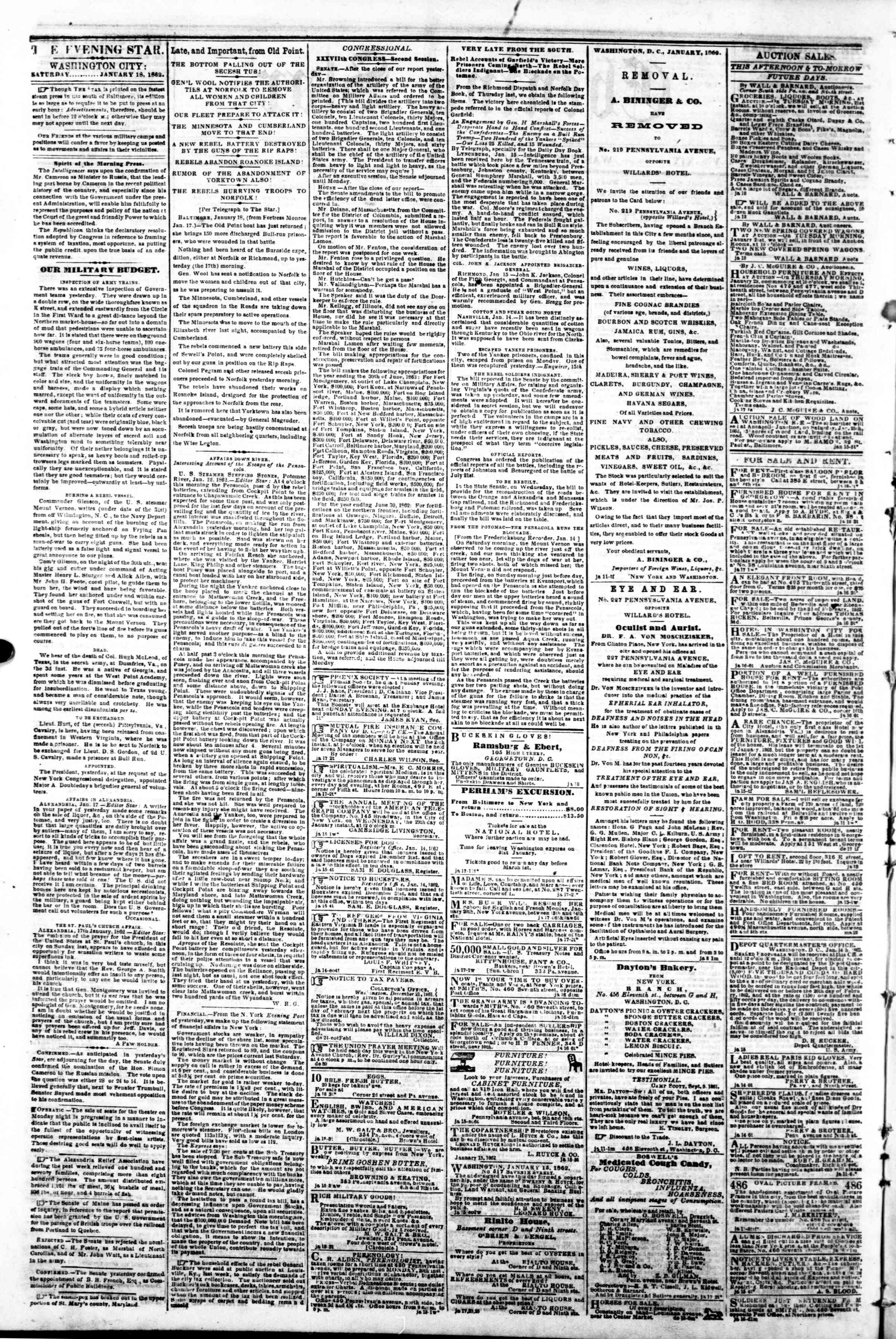 Newspaper of Evening Star dated January 18, 1862 Page 2