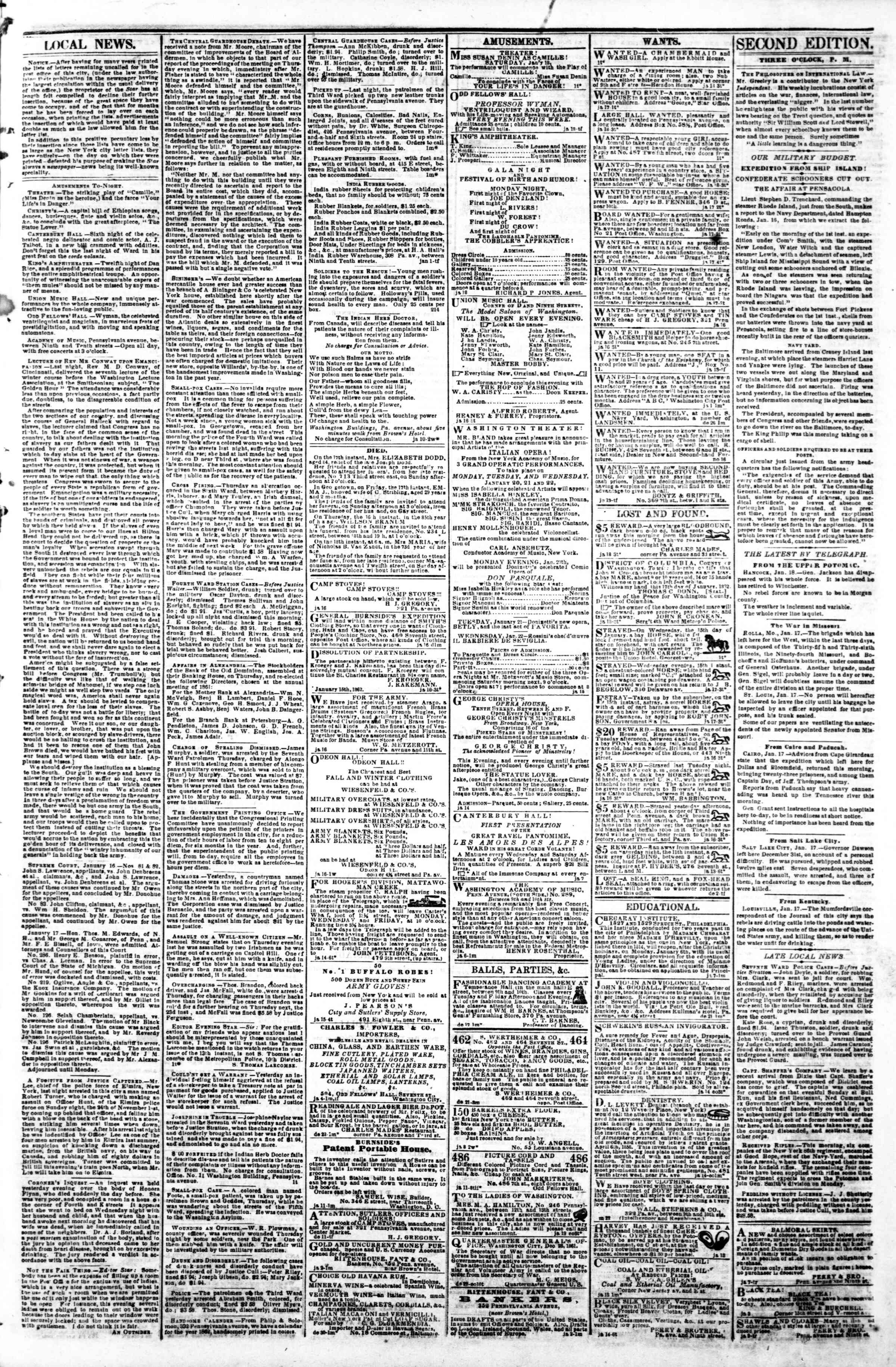 Newspaper of Evening Star dated January 18, 1862 Page 3