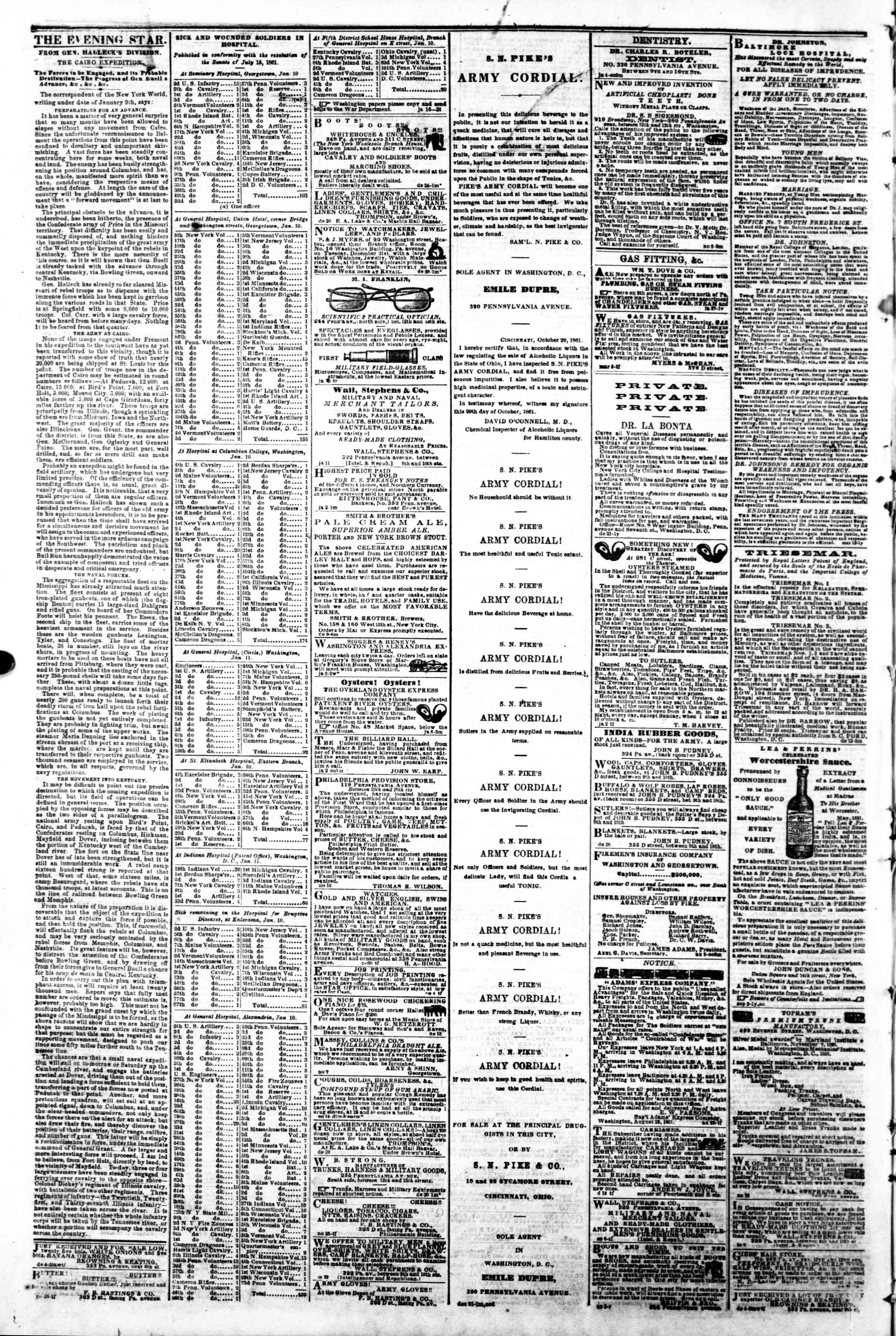 Newspaper of Evening Star dated January 18, 1862 Page 4