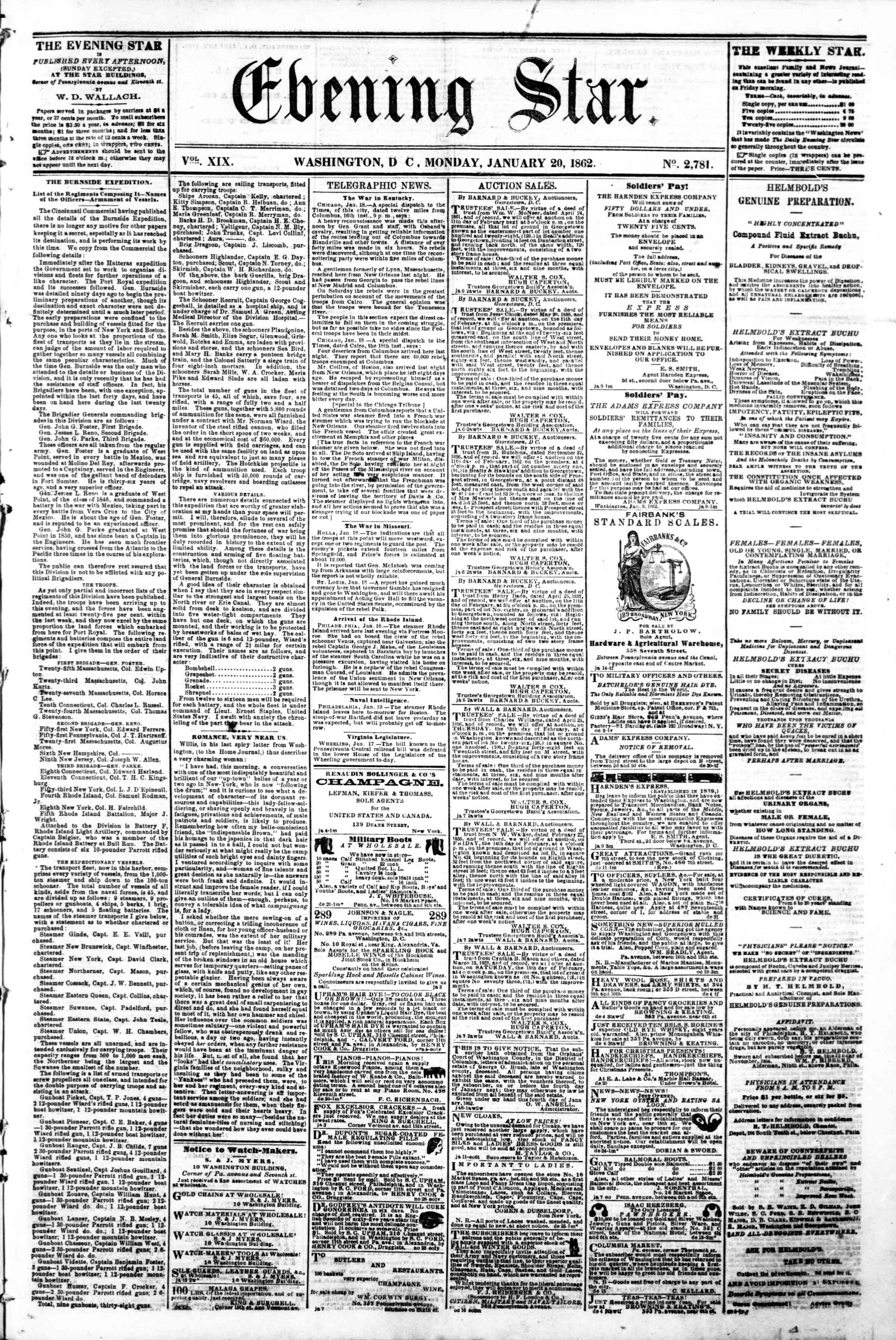 Newspaper of Evening Star dated January 20, 1862 Page 1