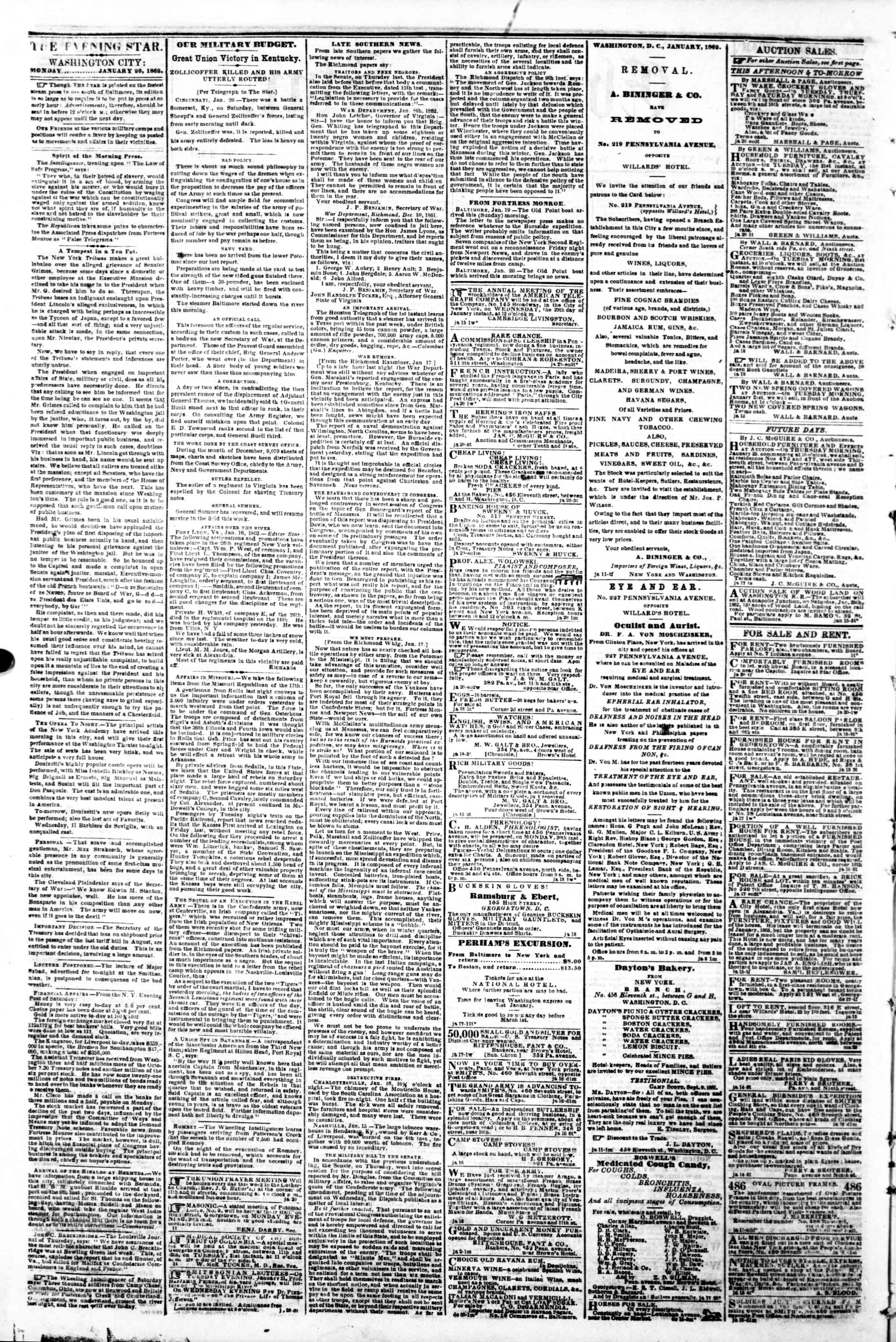 Newspaper of Evening Star dated January 20, 1862 Page 2