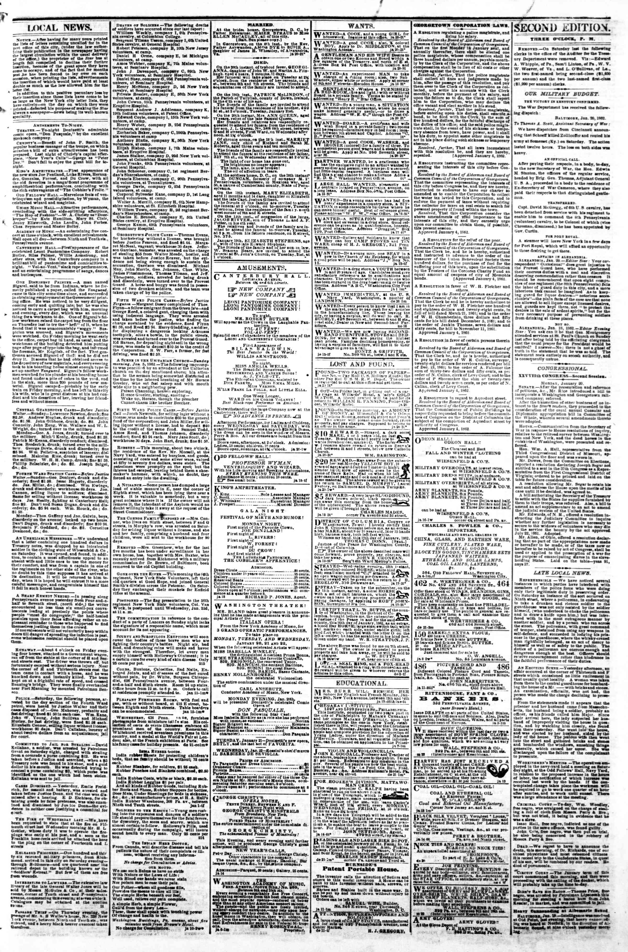 Newspaper of Evening Star dated January 20, 1862 Page 3