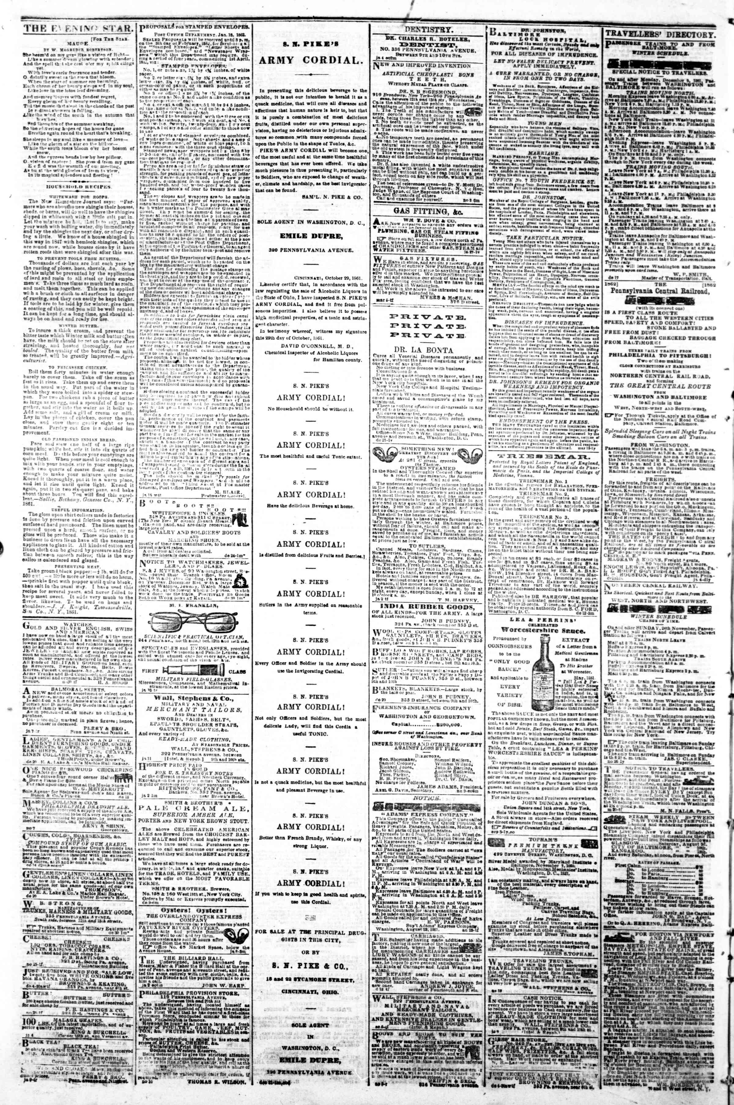 Newspaper of Evening Star dated January 21, 1862 Page 4