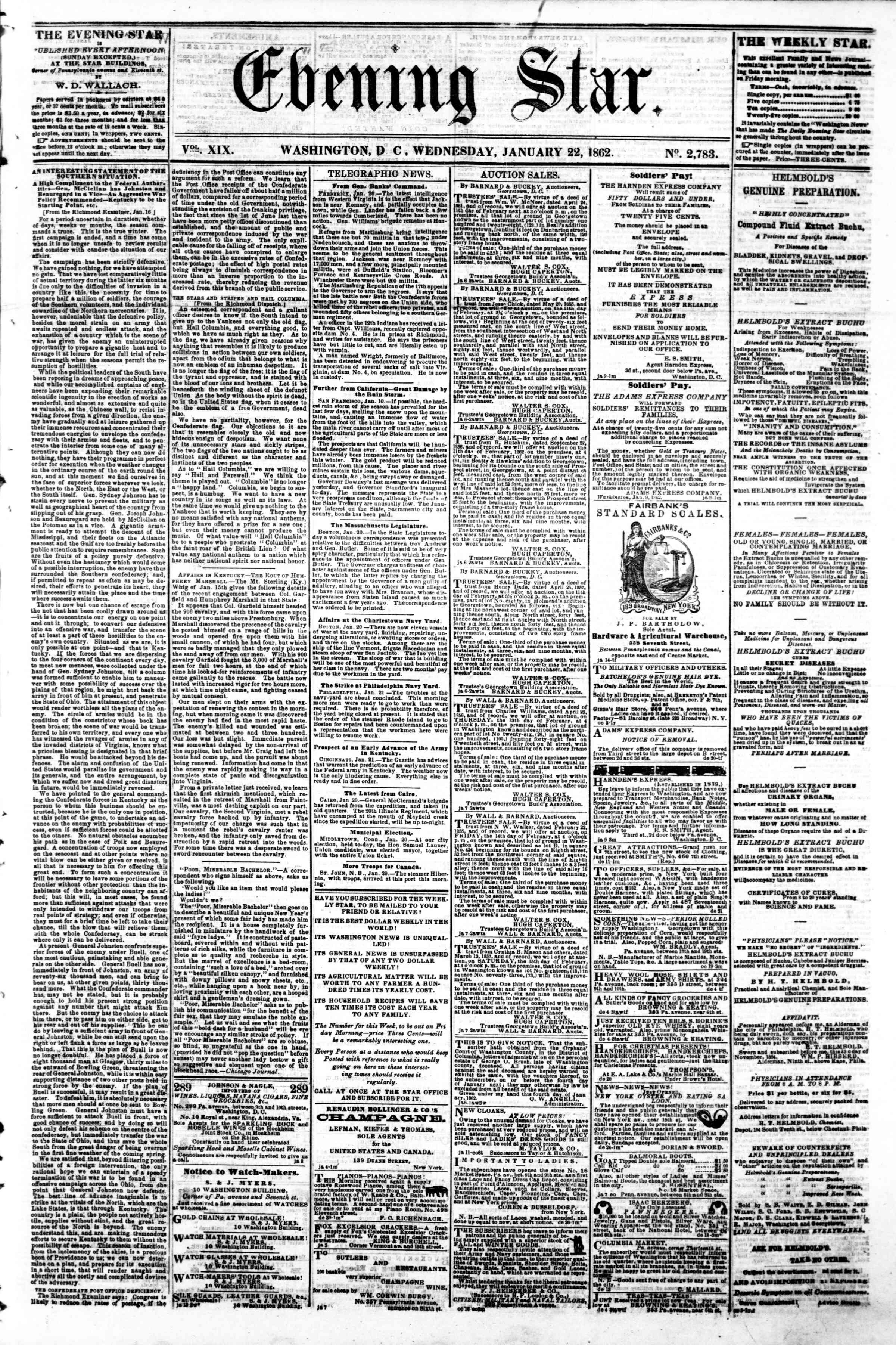Newspaper of Evening Star dated January 22, 1862 Page 1