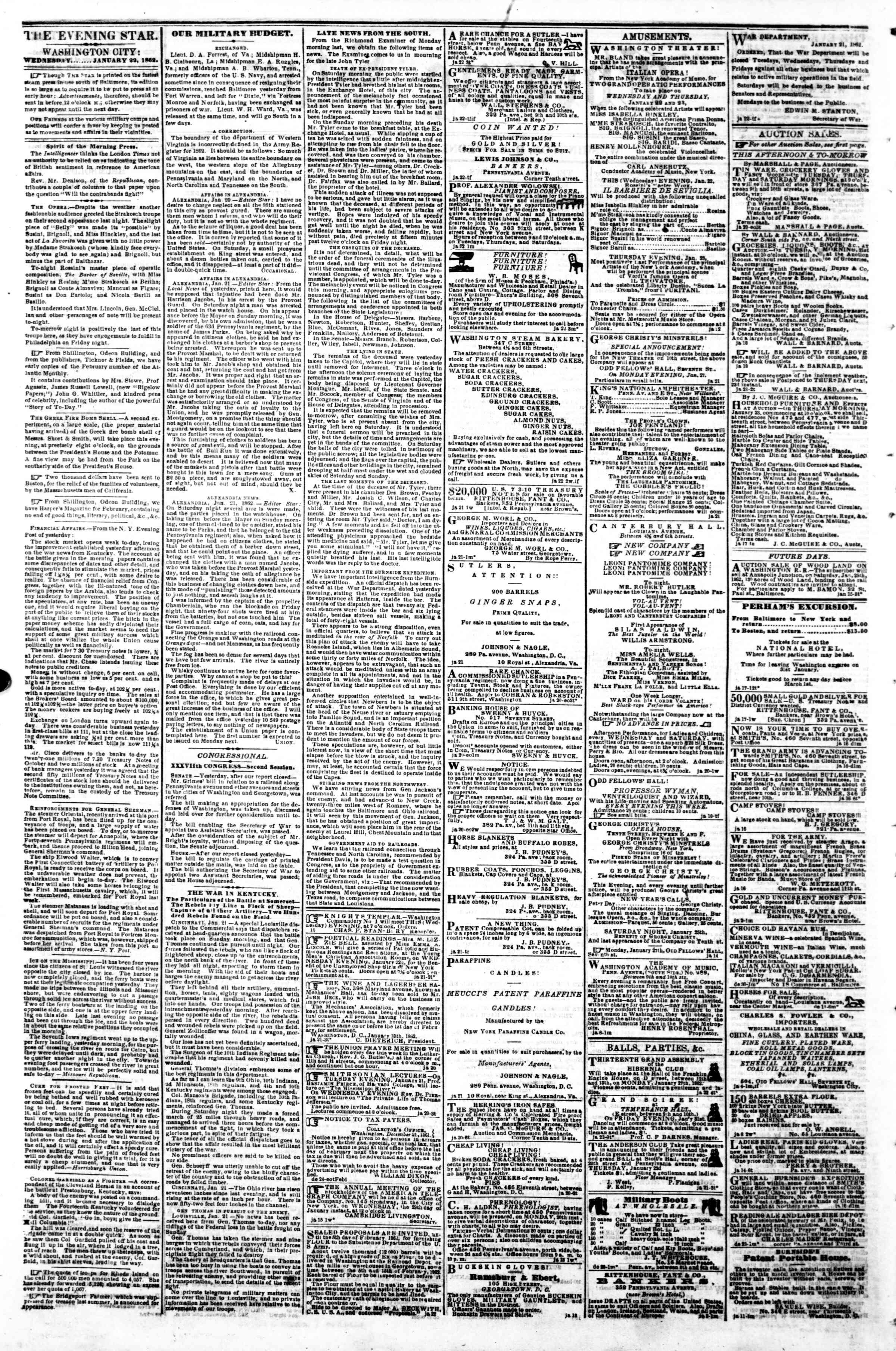 Newspaper of Evening Star dated January 22, 1862 Page 2
