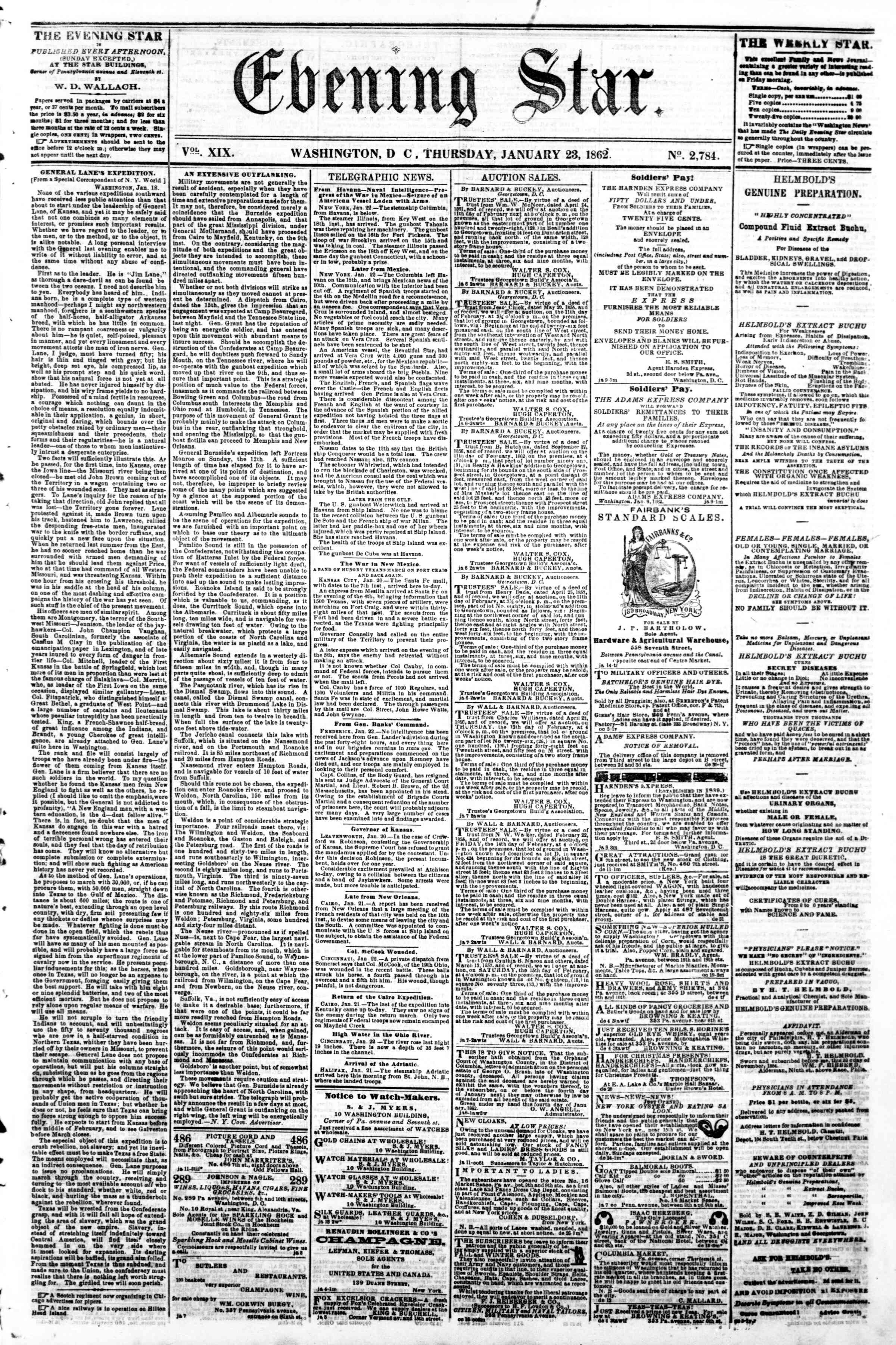 Newspaper of Evening Star dated January 23, 1862 Page 1
