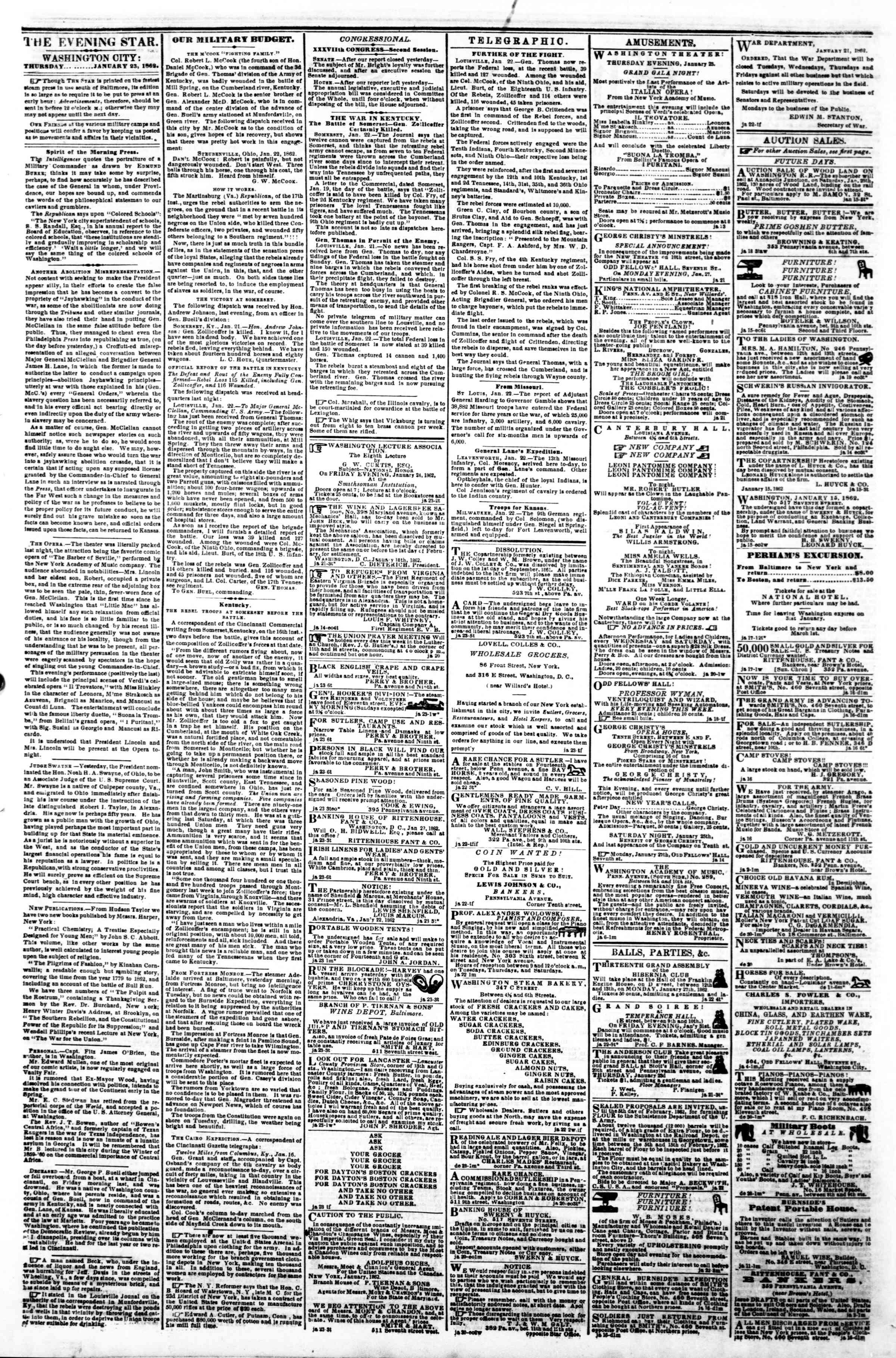 Newspaper of Evening Star dated January 23, 1862 Page 2