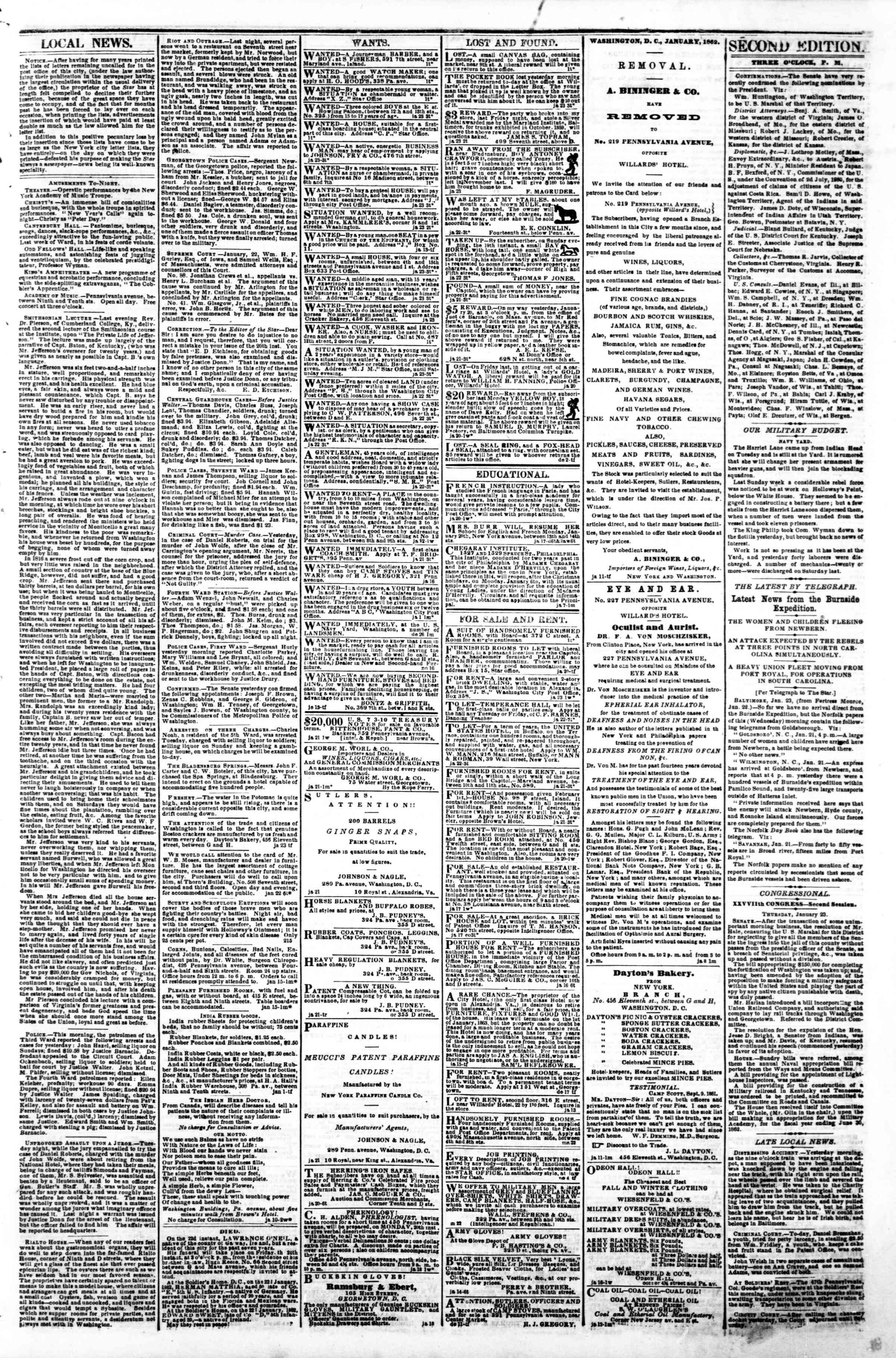 Newspaper of Evening Star dated January 23, 1862 Page 3