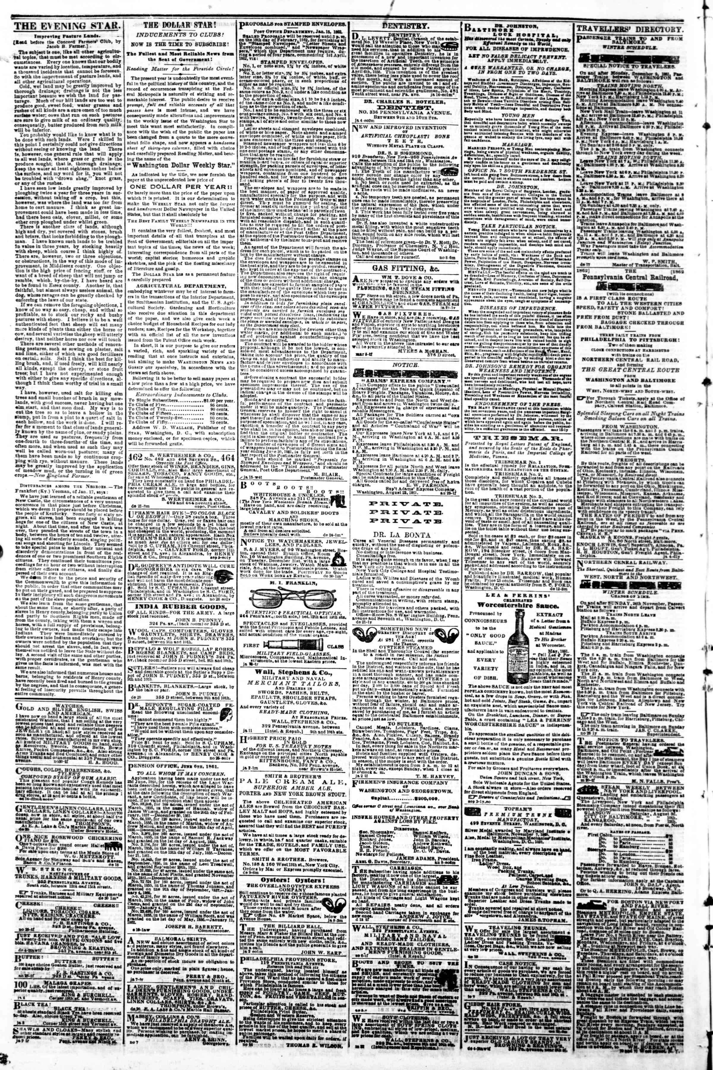 Newspaper of Evening Star dated January 23, 1862 Page 4