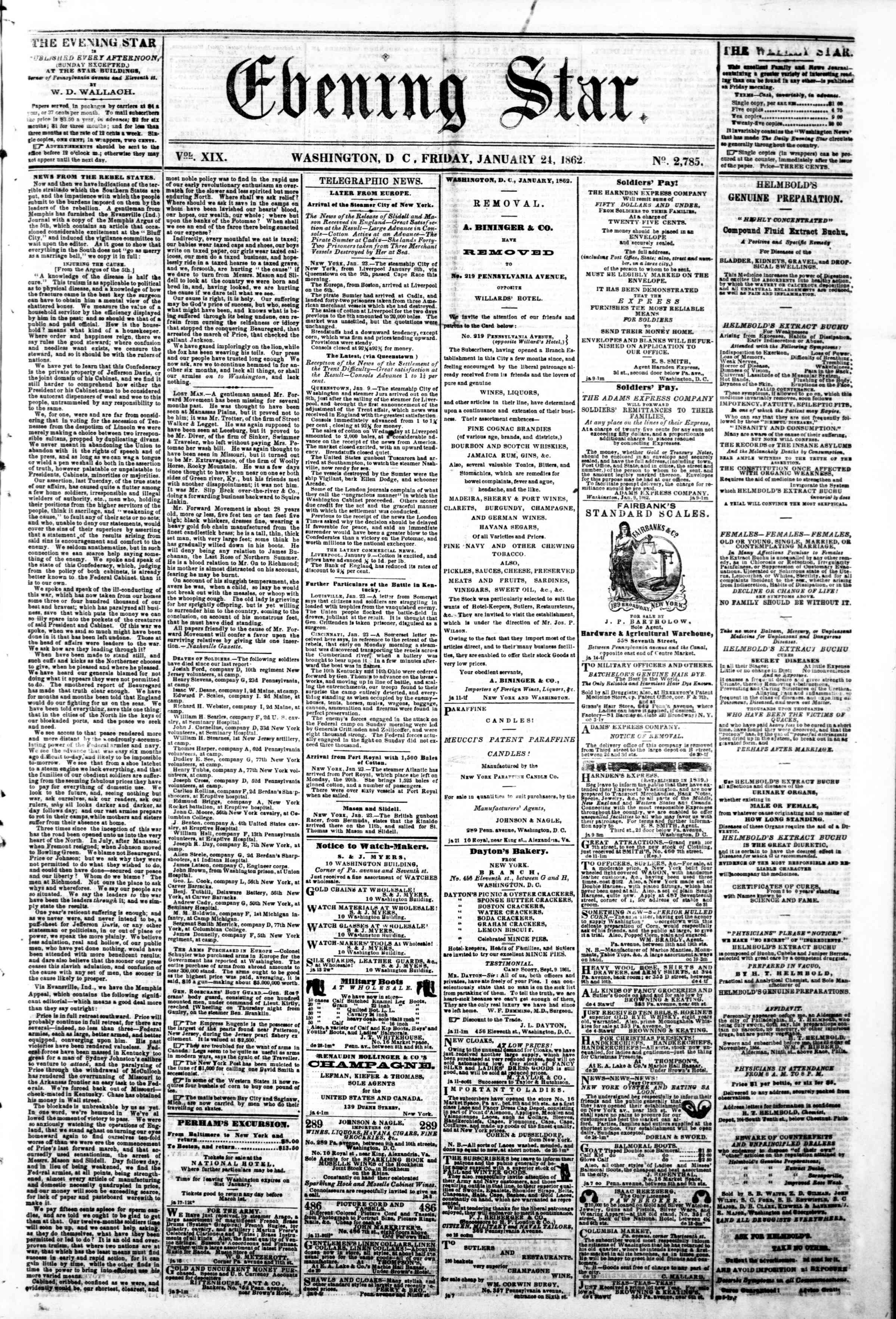Newspaper of Evening Star dated January 24, 1862 Page 1