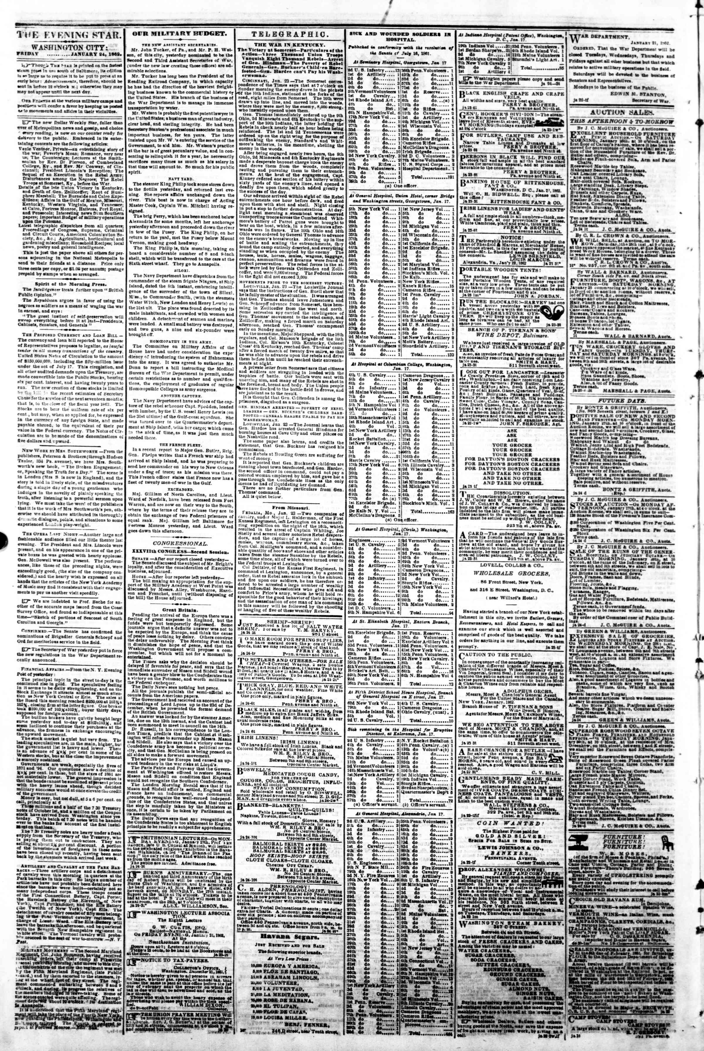 Newspaper of Evening Star dated January 24, 1862 Page 2