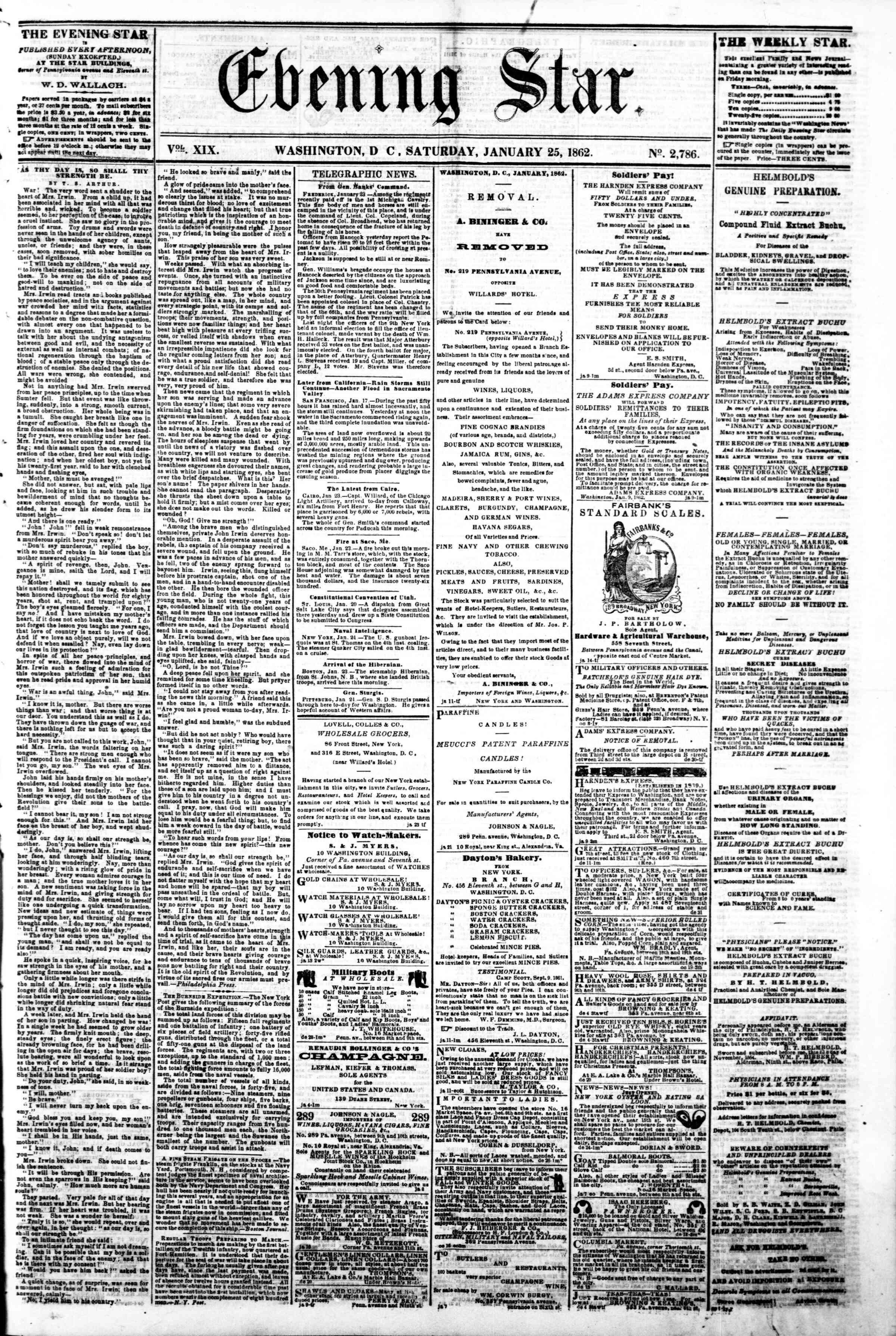 Newspaper of Evening Star dated January 25, 1862 Page 1