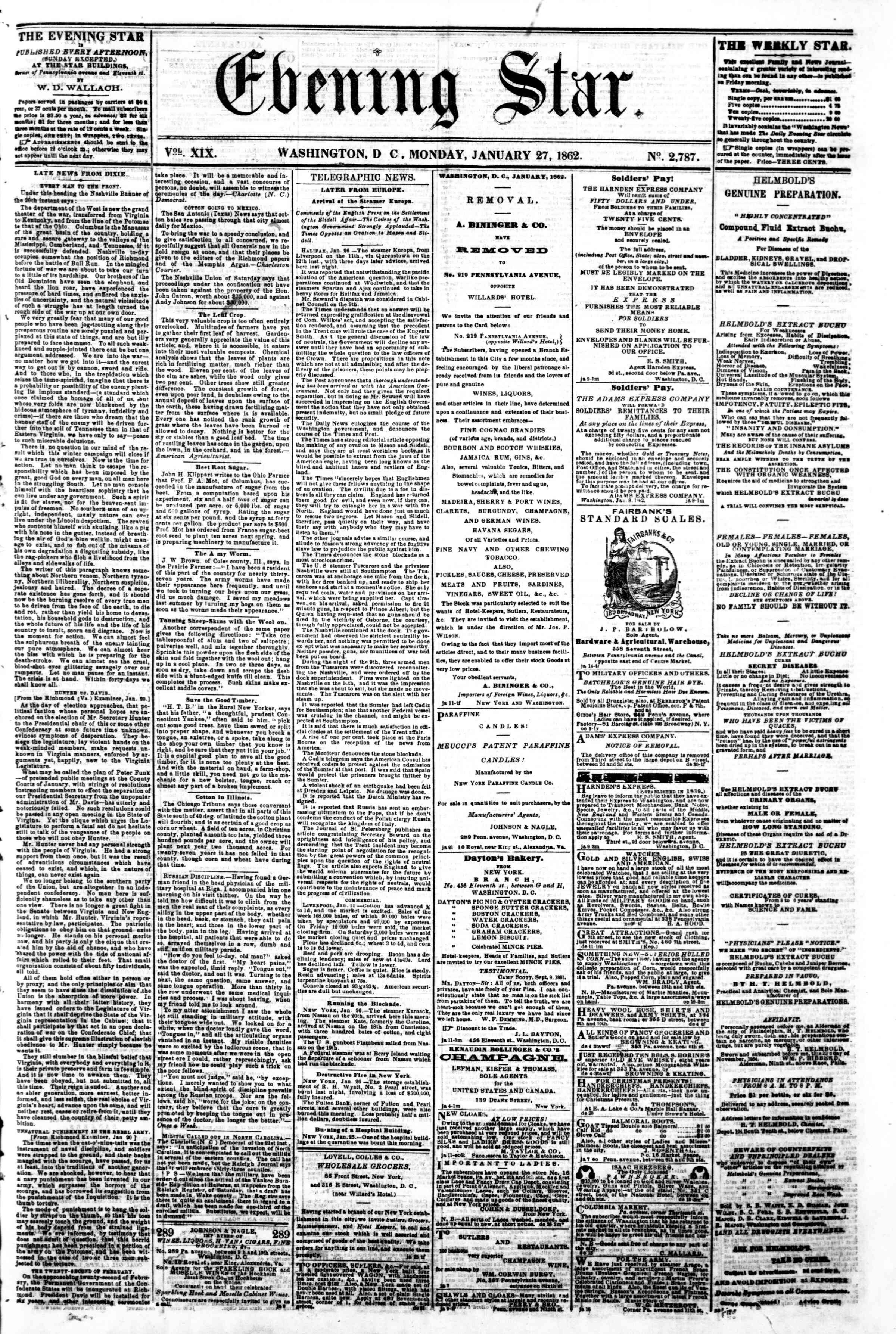 Newspaper of Evening Star dated January 27, 1862 Page 1