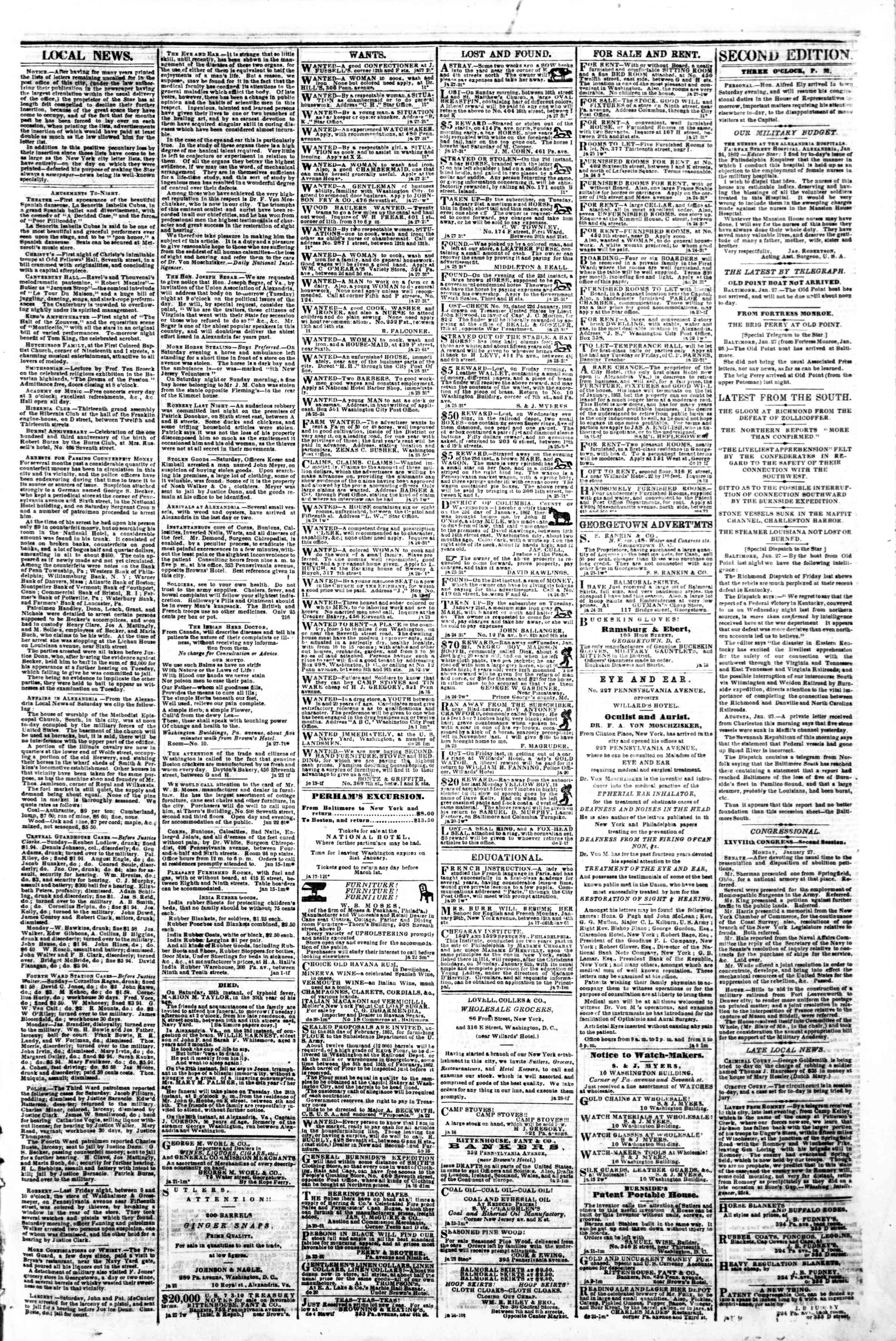 Newspaper of Evening Star dated January 27, 1862 Page 3