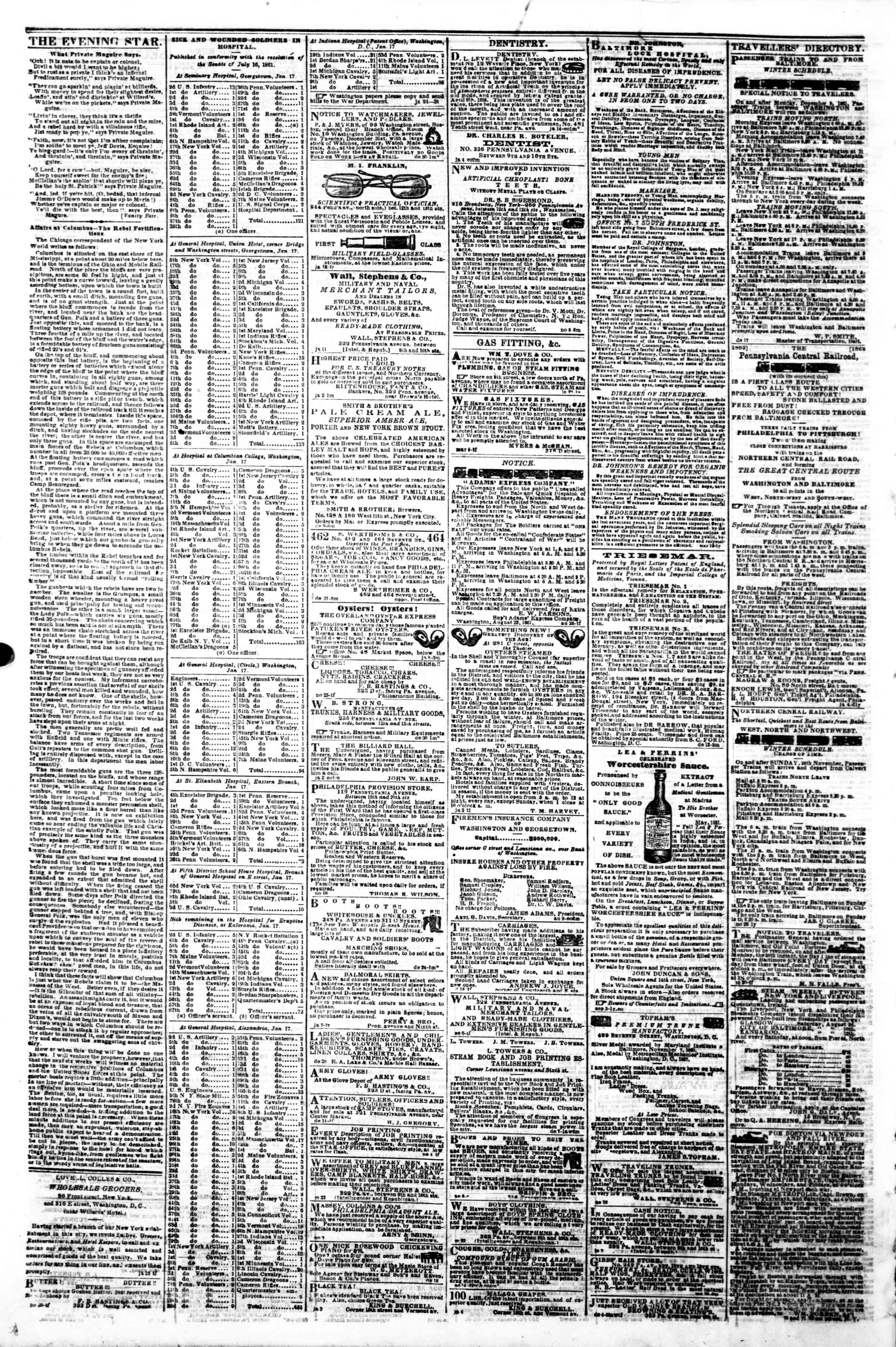 Newspaper of Evening Star dated January 27, 1862 Page 4
