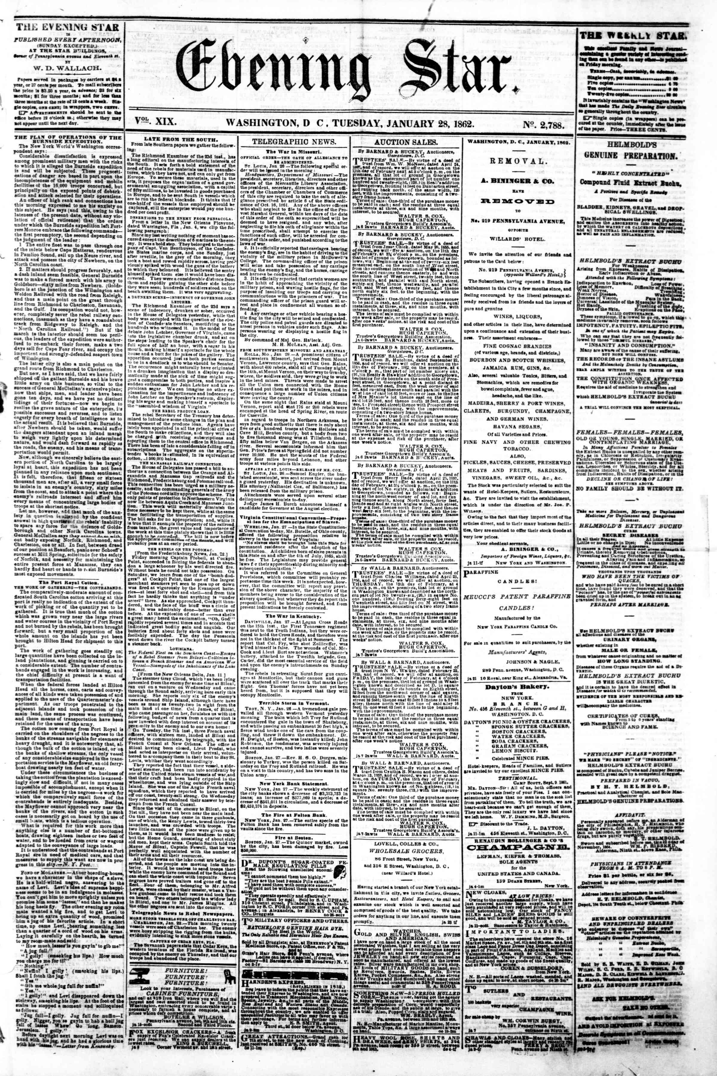 Newspaper of Evening Star dated January 28, 1862 Page 1