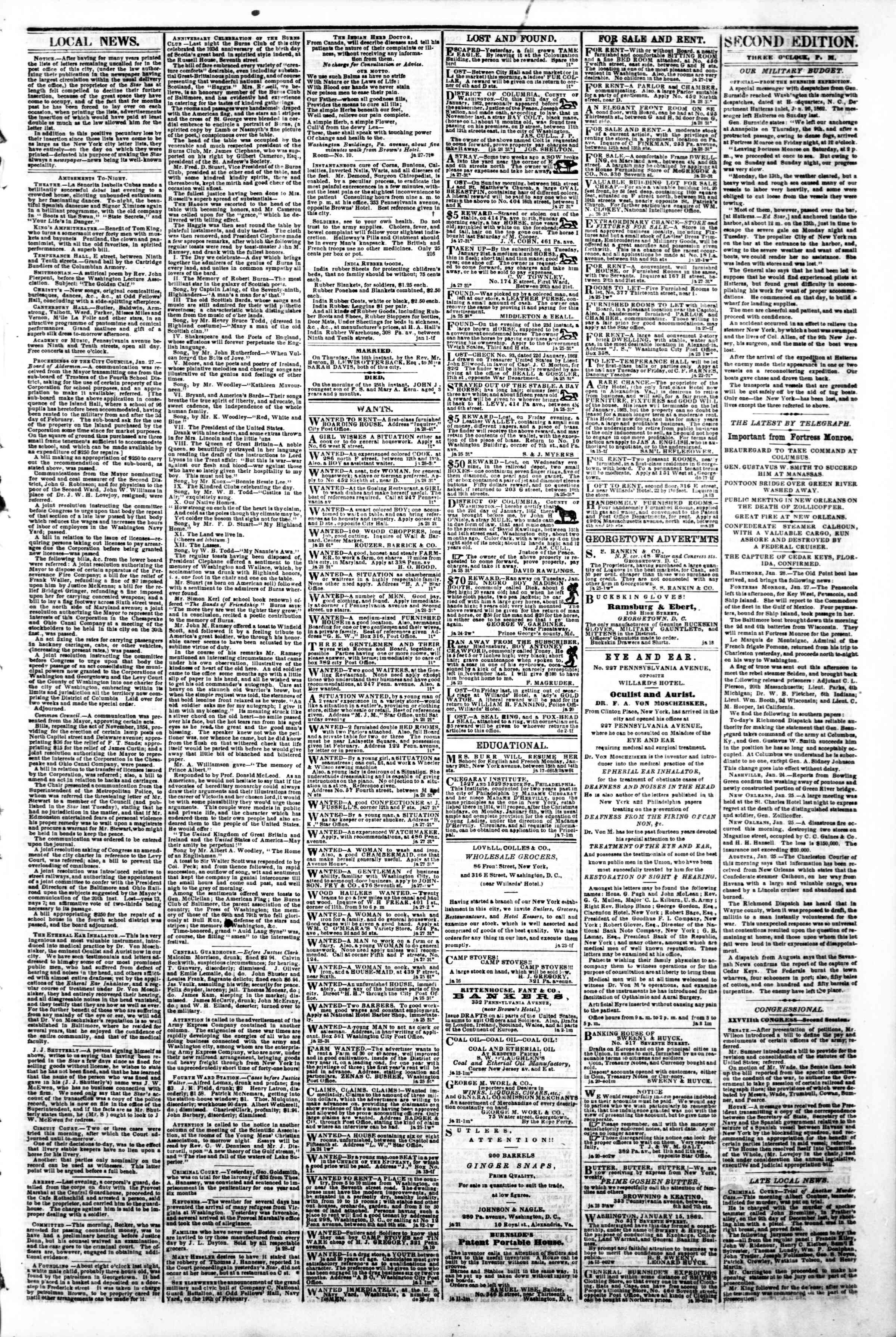 Newspaper of Evening Star dated January 28, 1862 Page 3