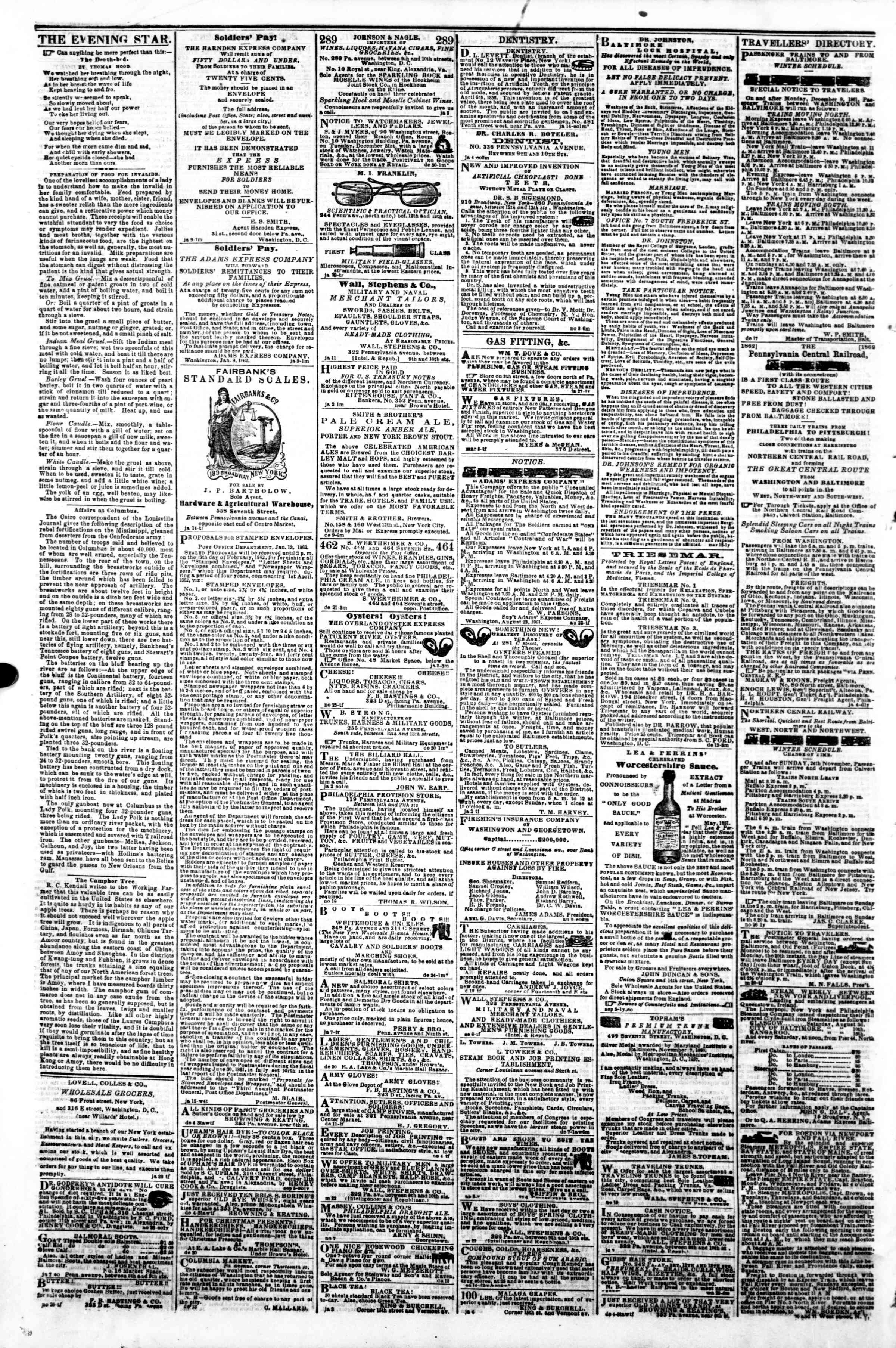 Newspaper of Evening Star dated January 28, 1862 Page 4