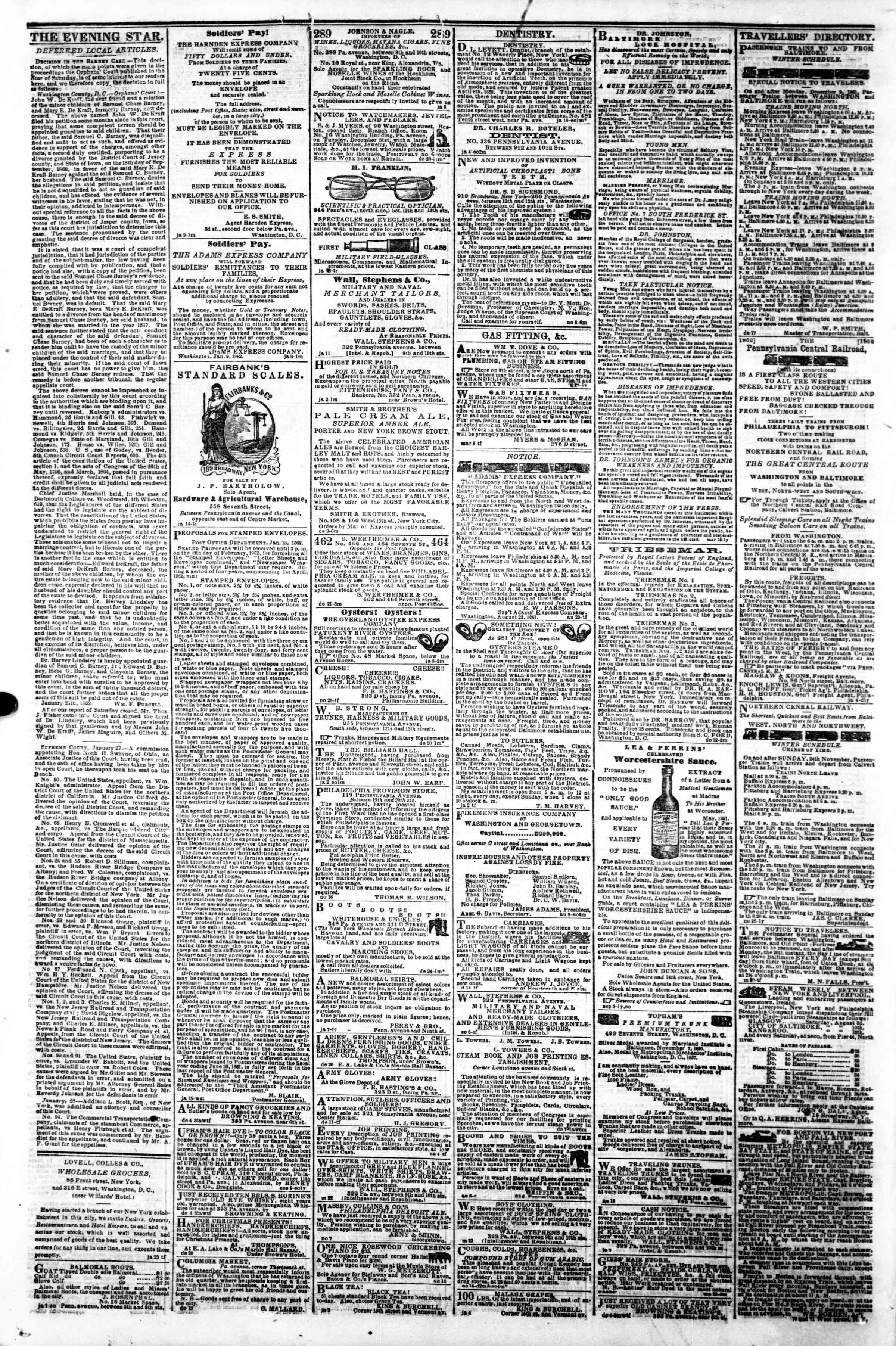 Newspaper of Evening Star dated January 29, 1862 Page 4