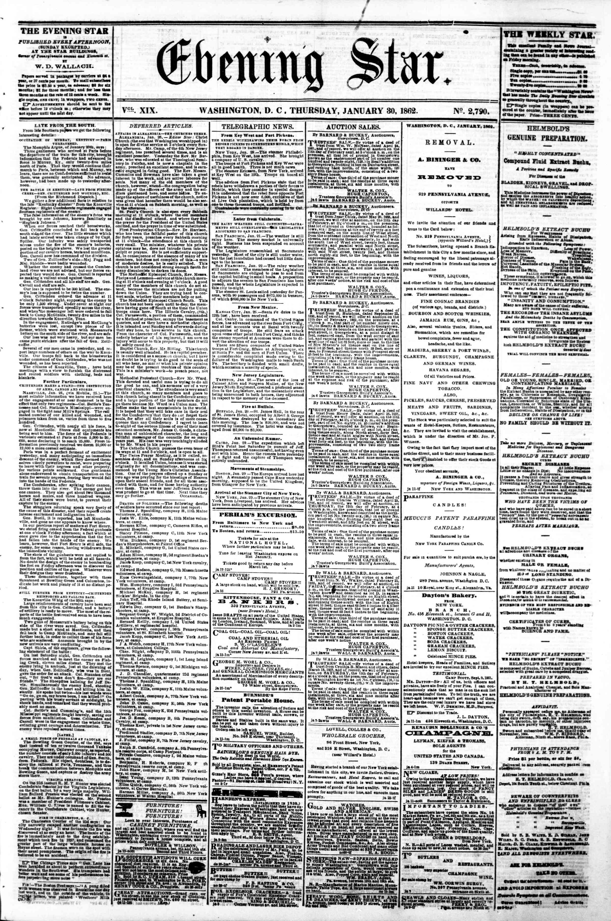 Newspaper of Evening Star dated January 30, 1862 Page 1