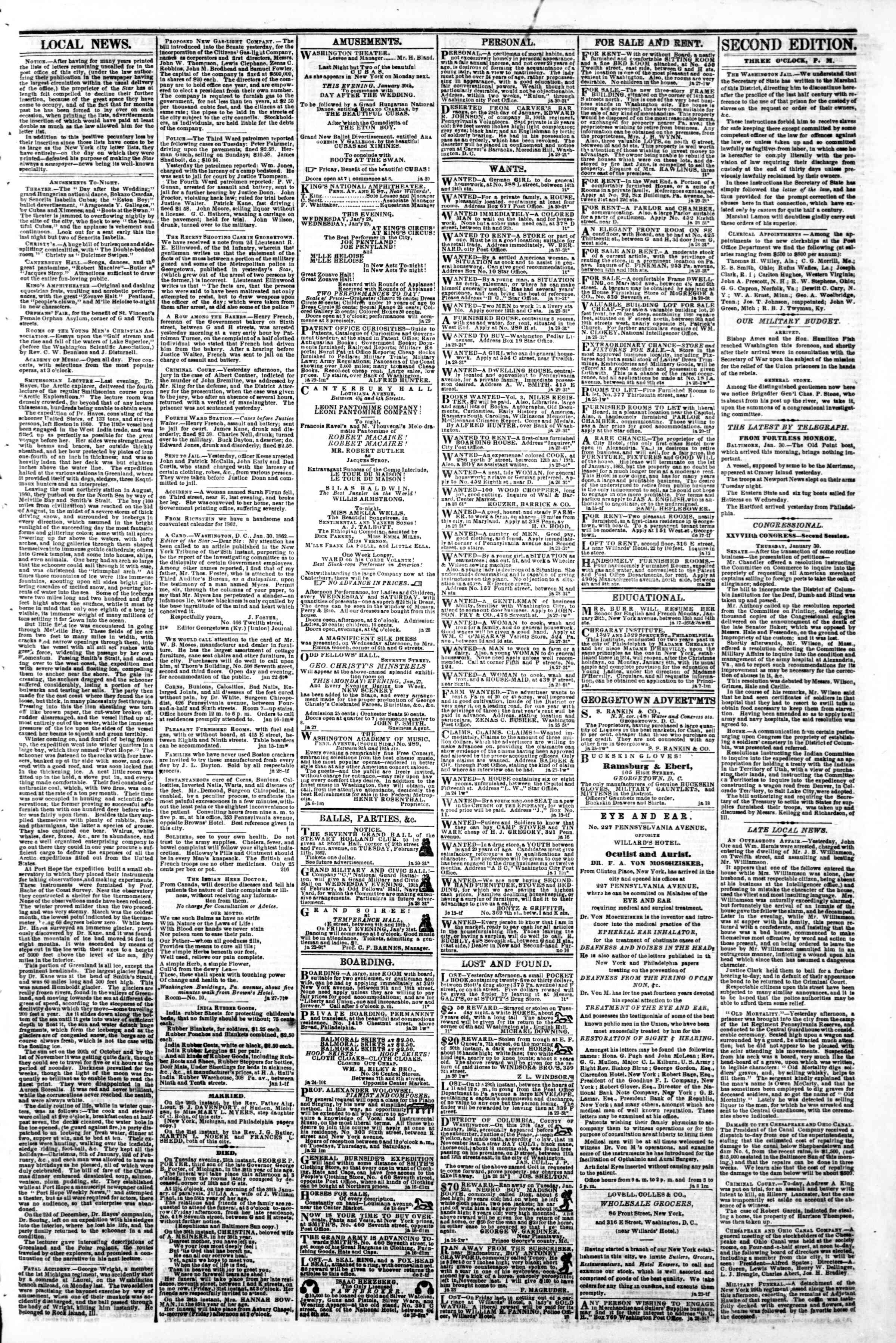 Newspaper of Evening Star dated January 30, 1862 Page 3