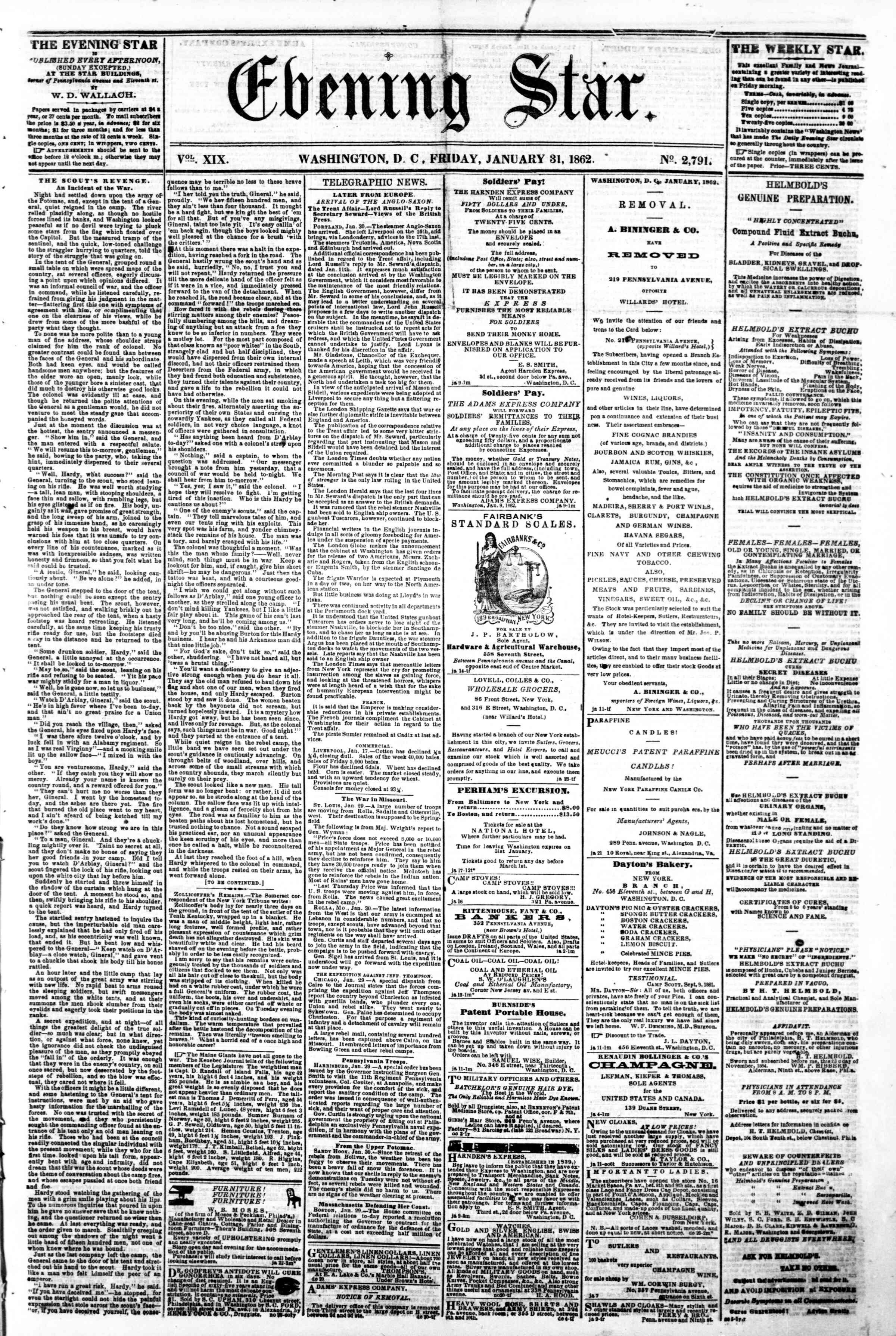 Newspaper of Evening Star dated January 31, 1862 Page 1