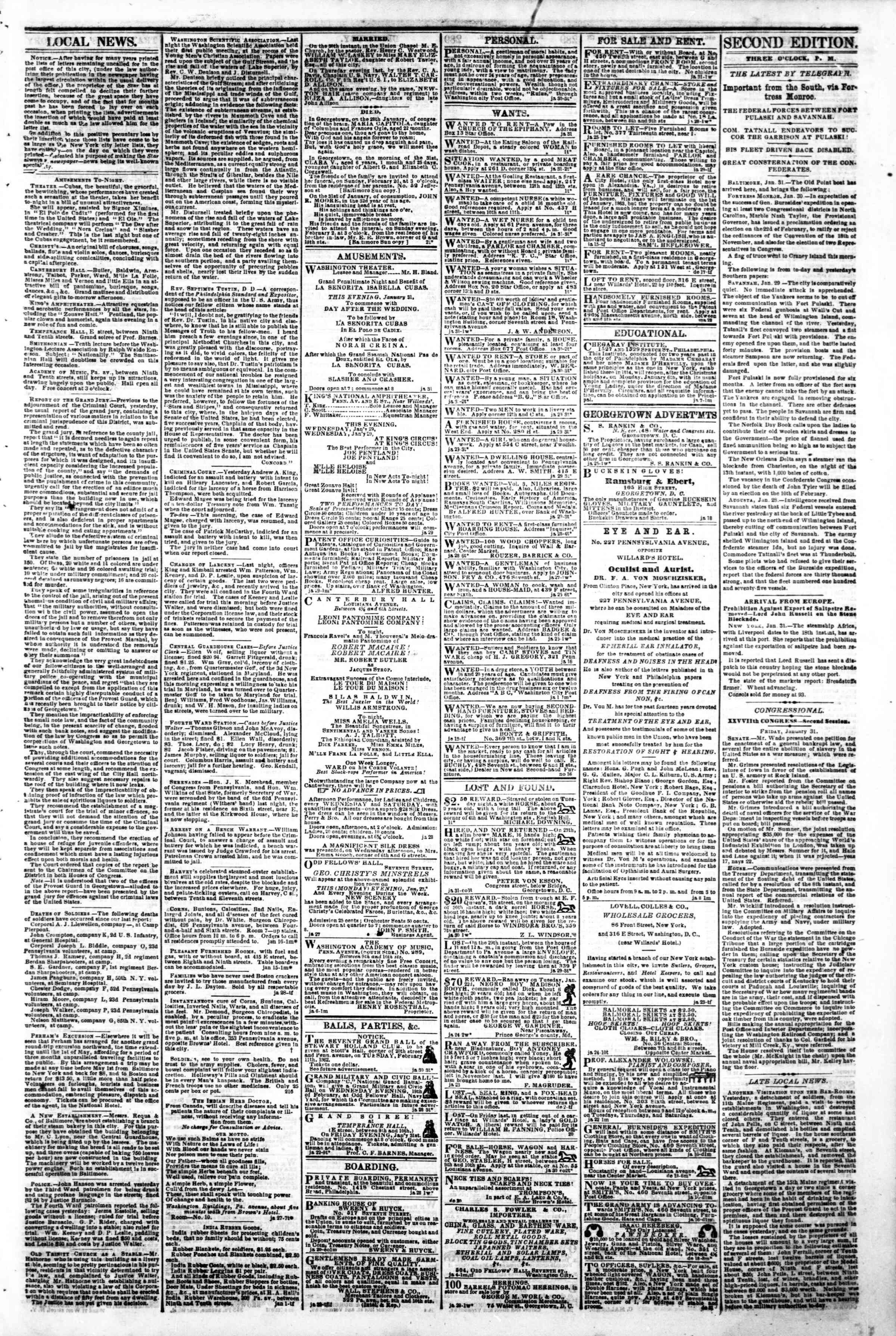 Newspaper of Evening Star dated January 31, 1862 Page 3