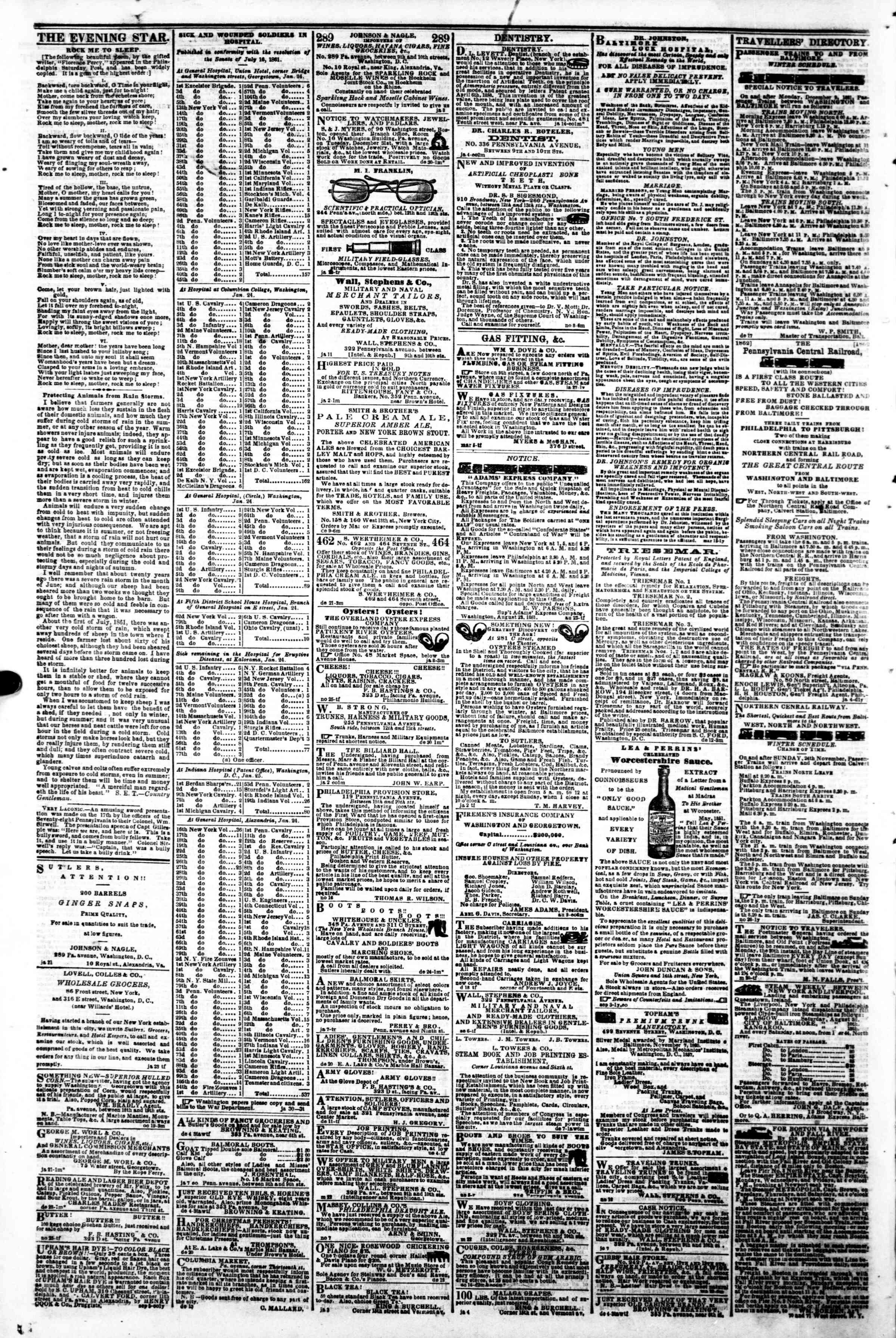 Newspaper of Evening Star dated January 31, 1862 Page 4