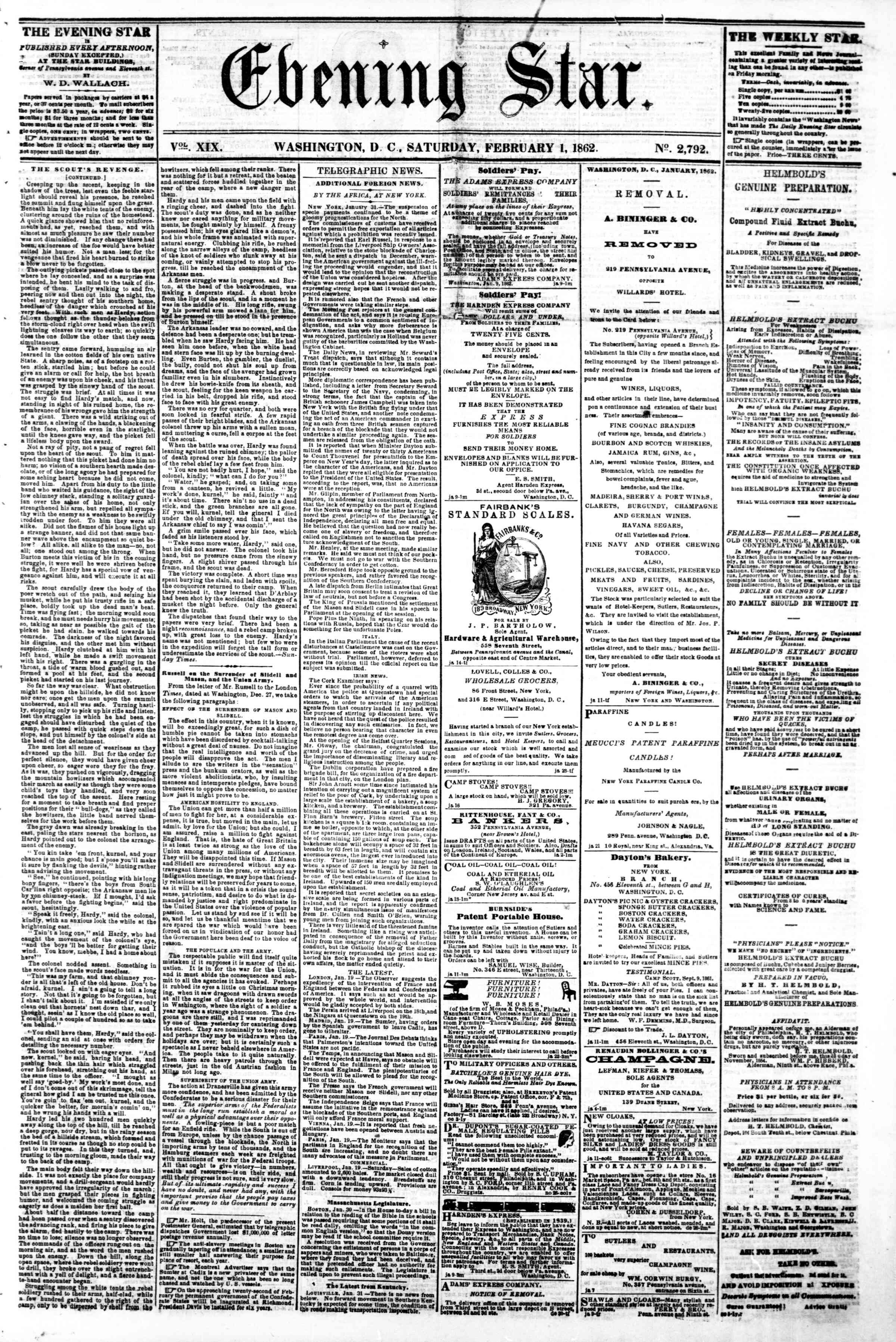 Newspaper of Evening Star dated February 1, 1862 Page 1