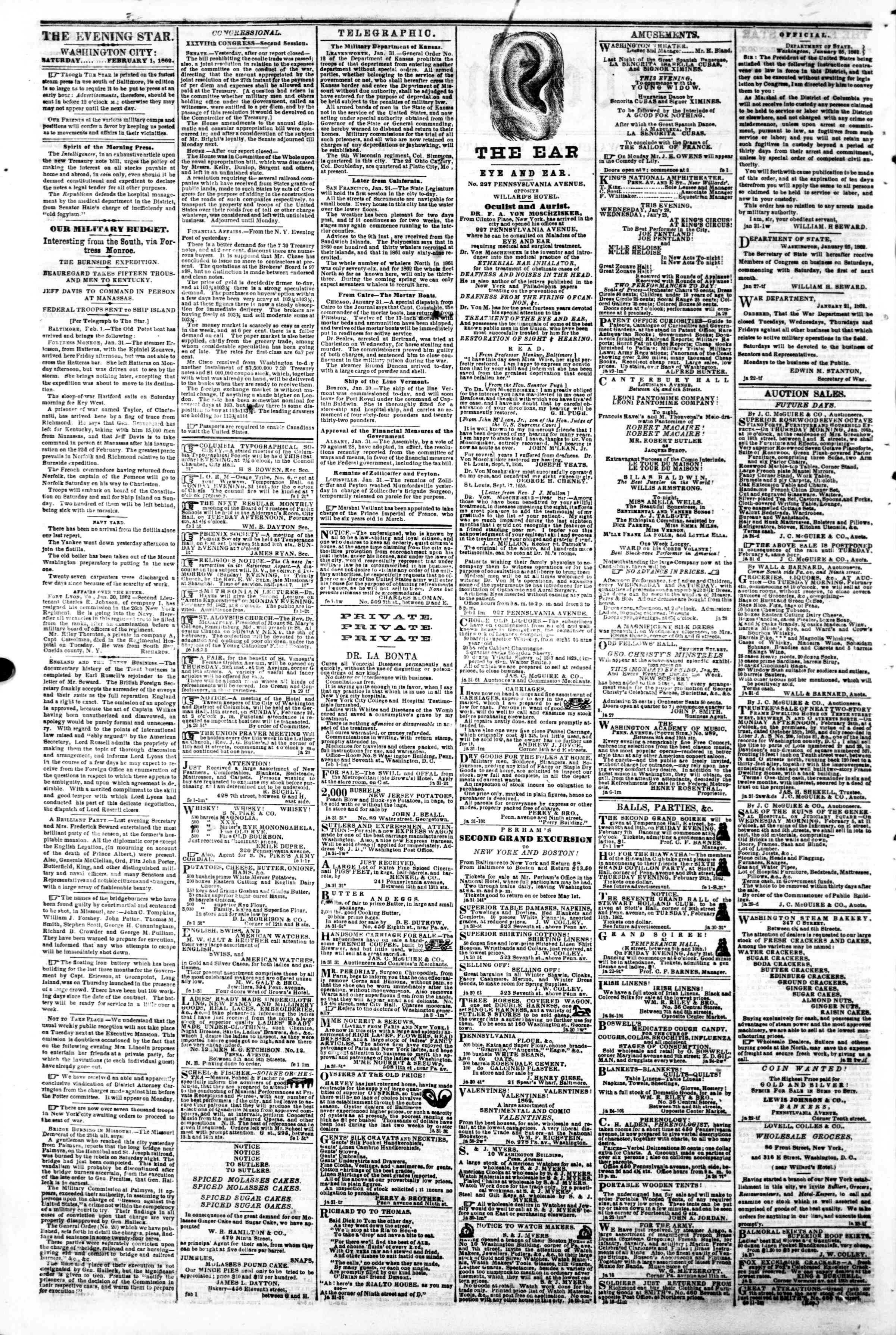 Newspaper of Evening Star dated February 1, 1862 Page 2