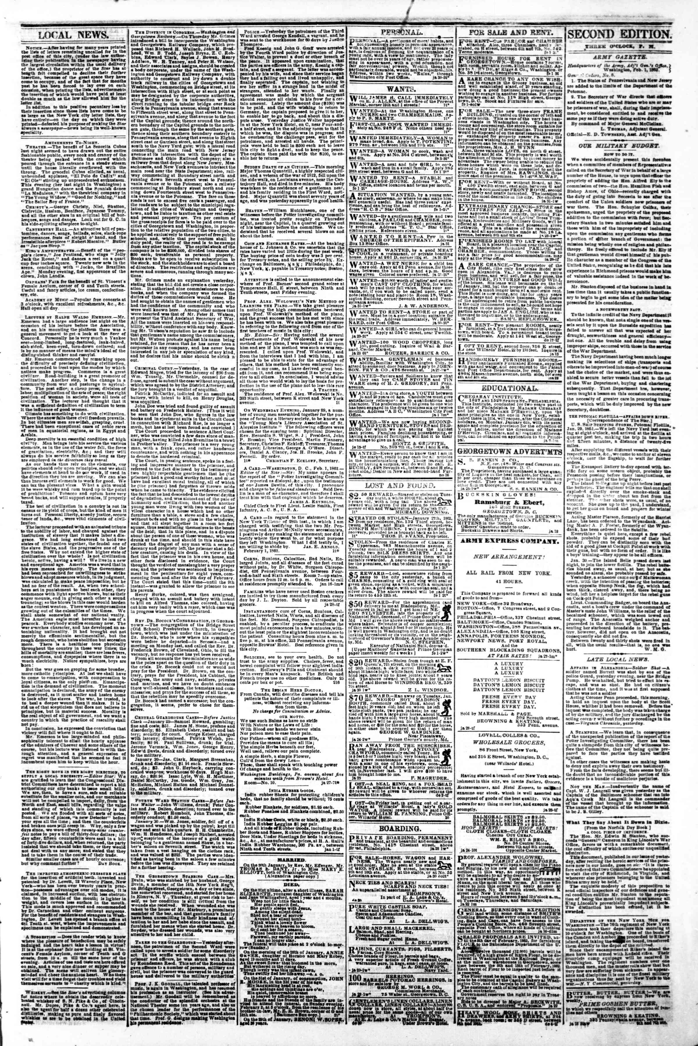 Newspaper of Evening Star dated February 1, 1862 Page 3