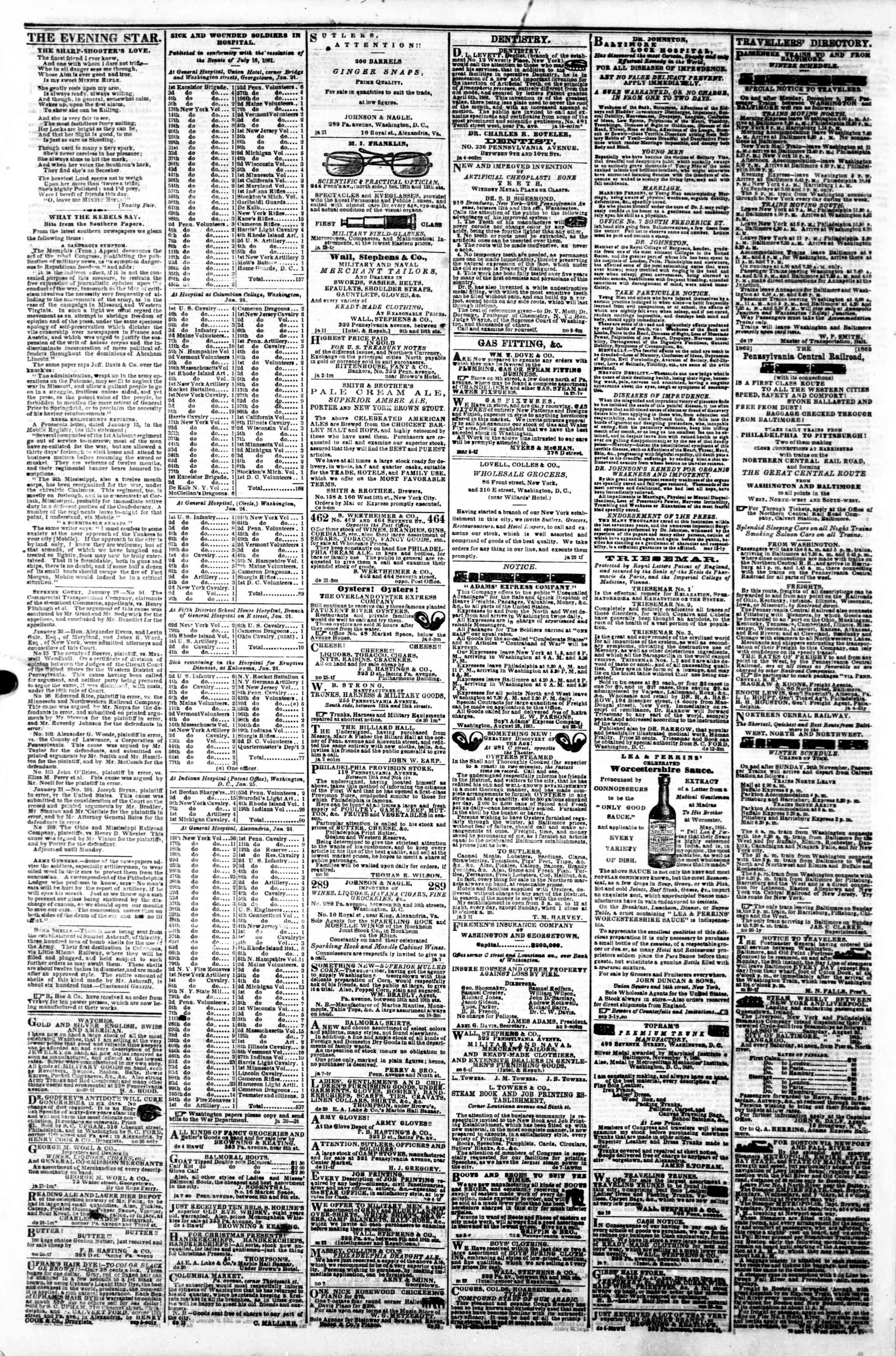 Newspaper of Evening Star dated February 1, 1862 Page 4