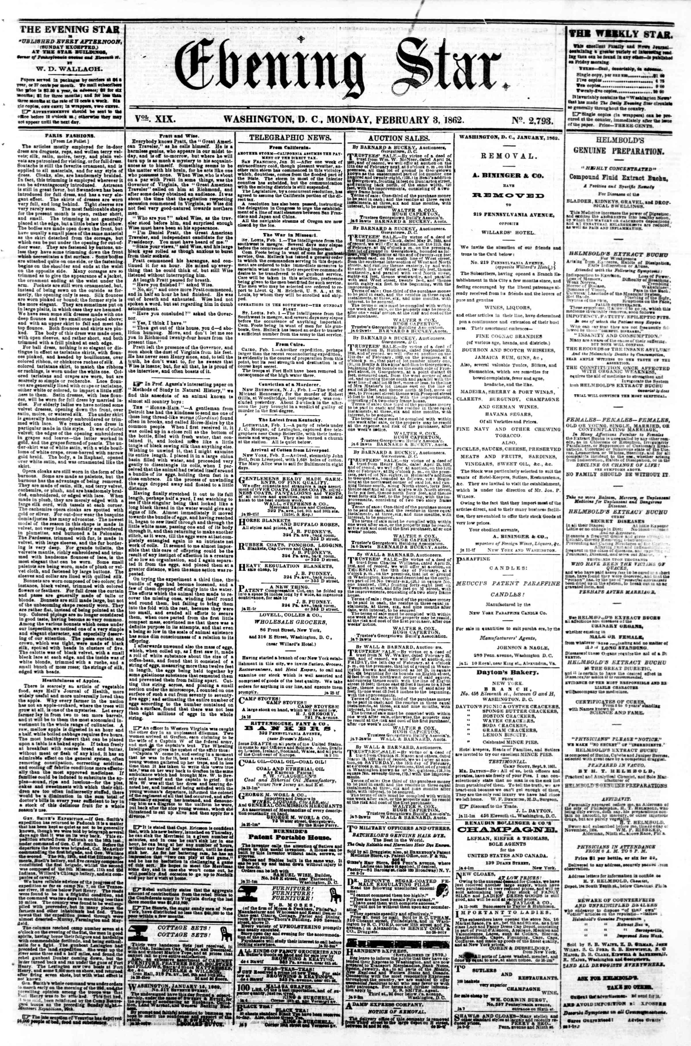 Newspaper of Evening Star dated February 3, 1862 Page 1
