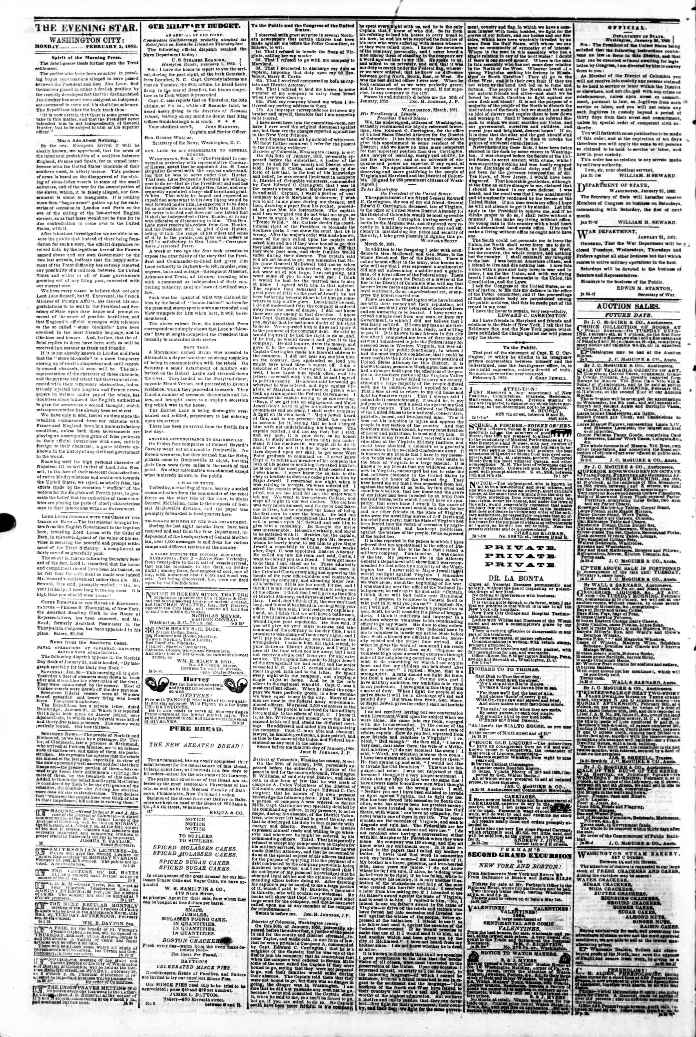 Newspaper of Evening Star dated February 3, 1862 Page 2