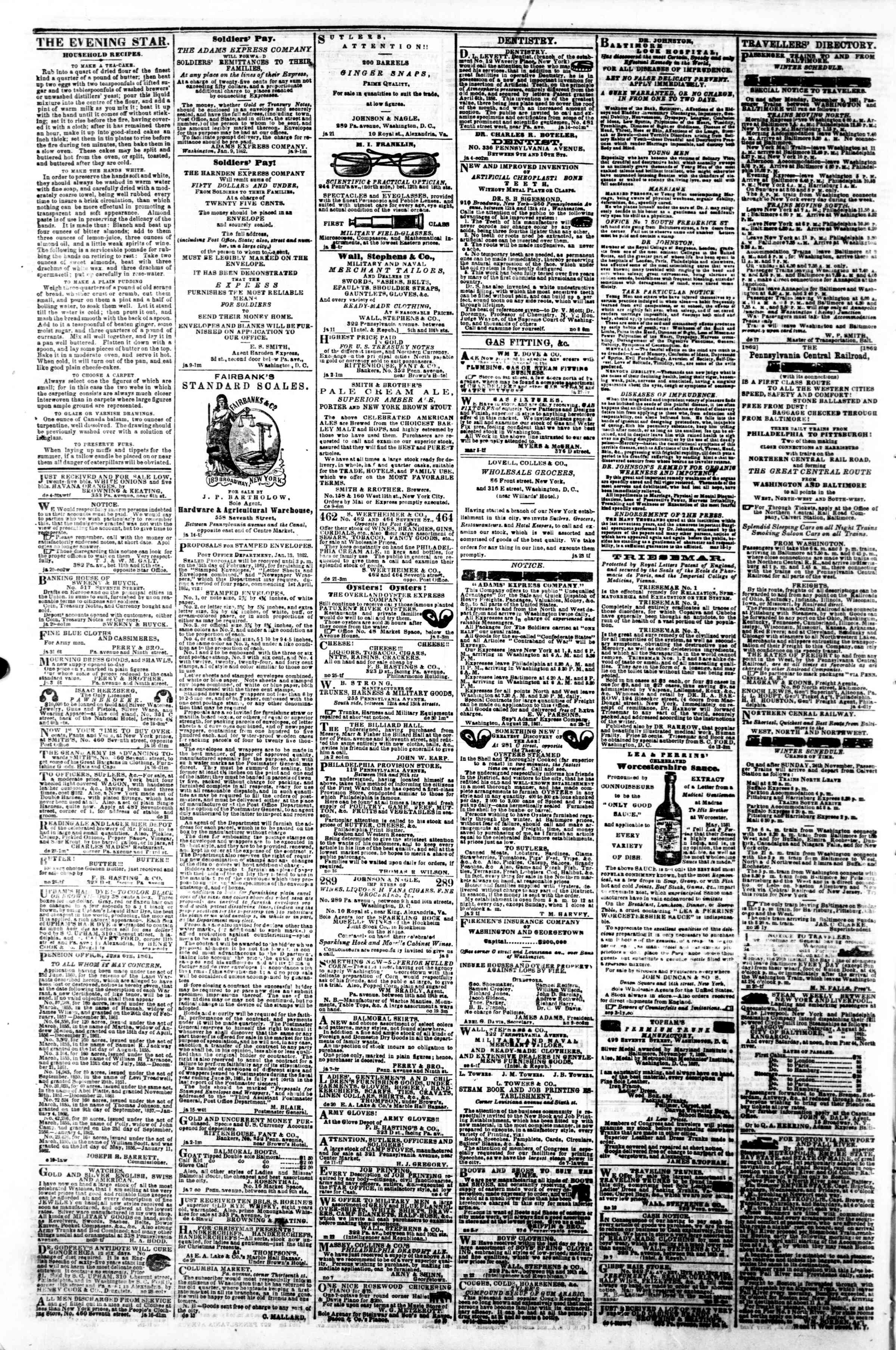 Newspaper of Evening Star dated February 3, 1862 Page 4