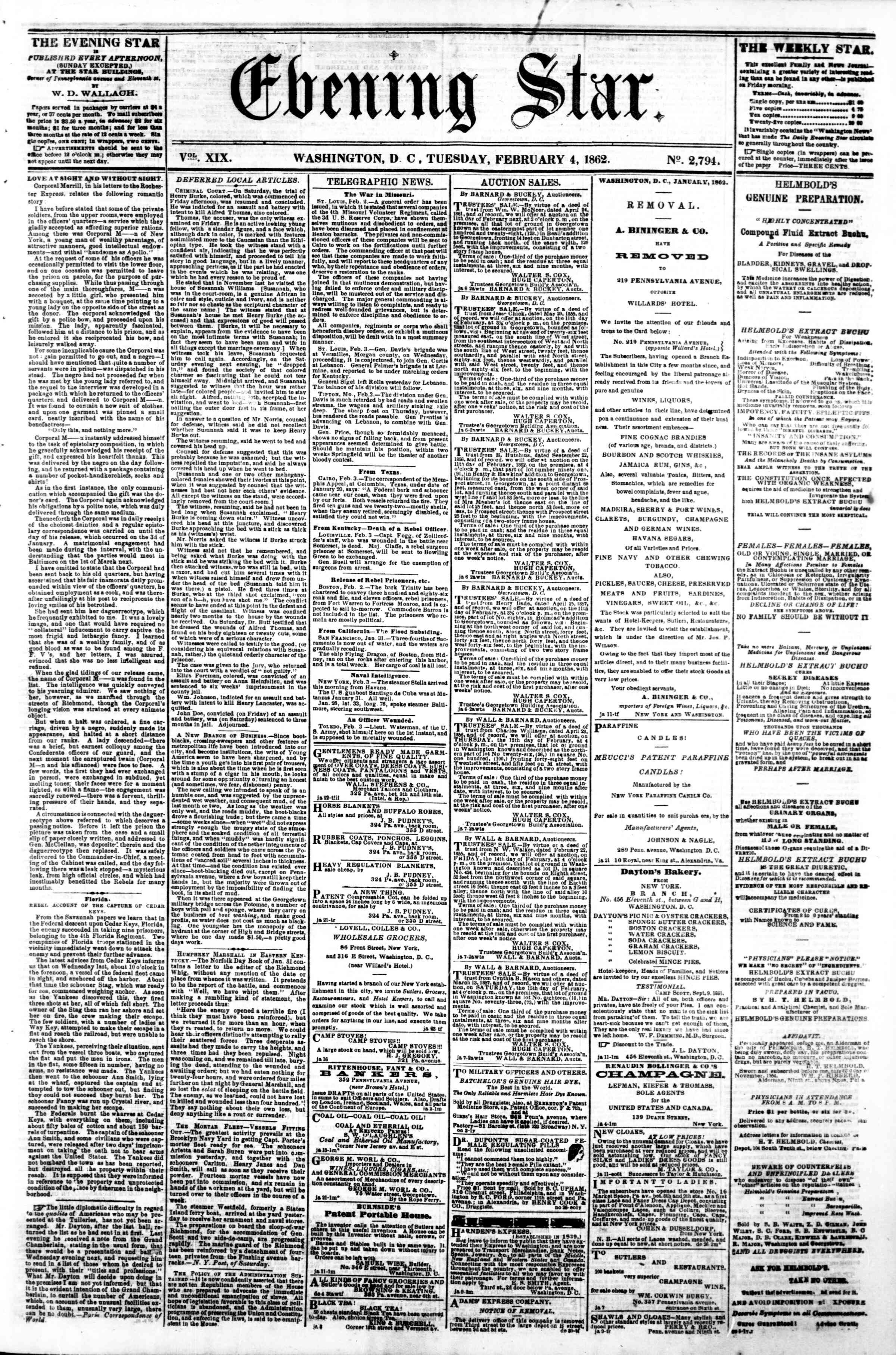 Newspaper of Evening Star dated February 4, 1862 Page 1