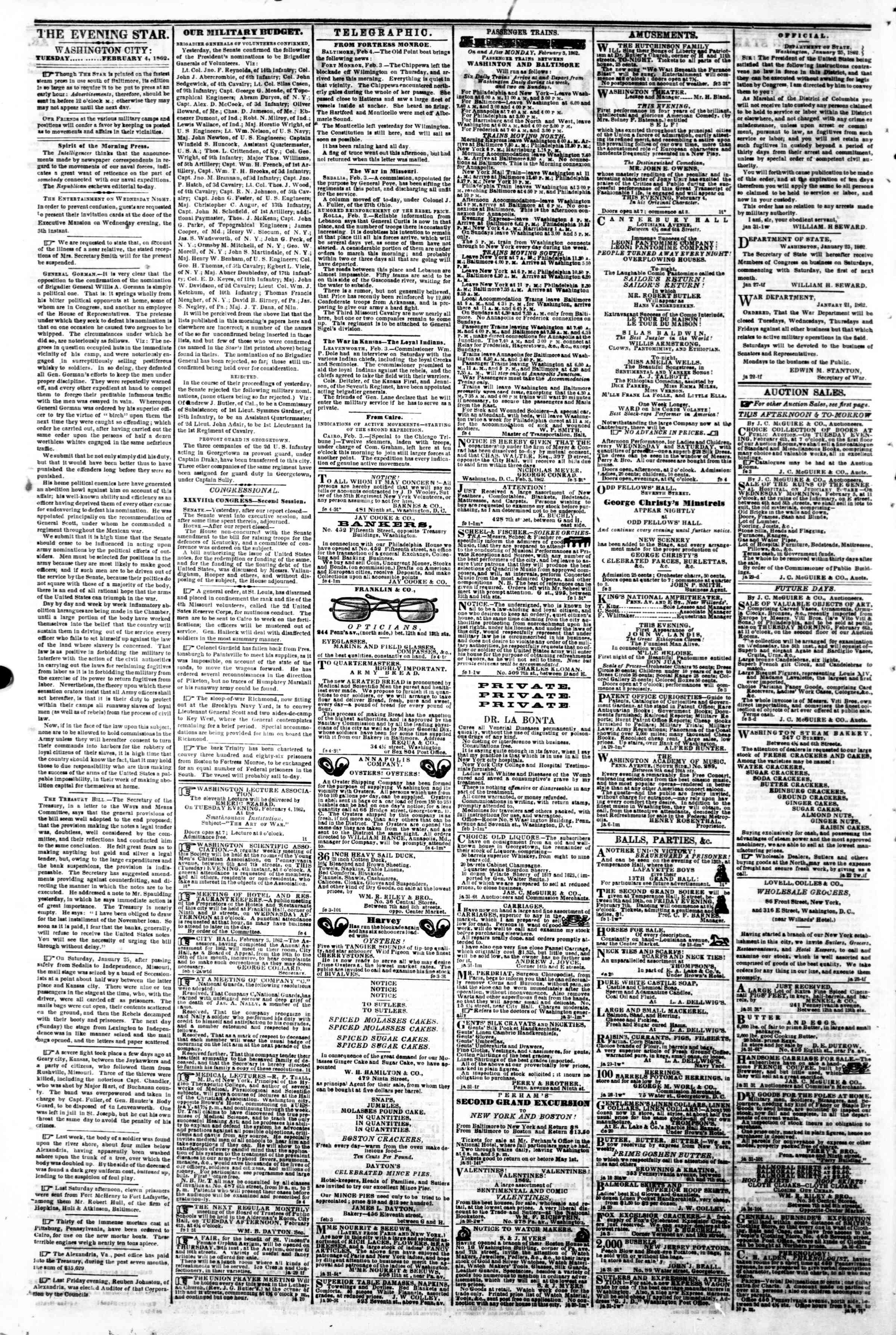 Newspaper of Evening Star dated February 4, 1862 Page 2