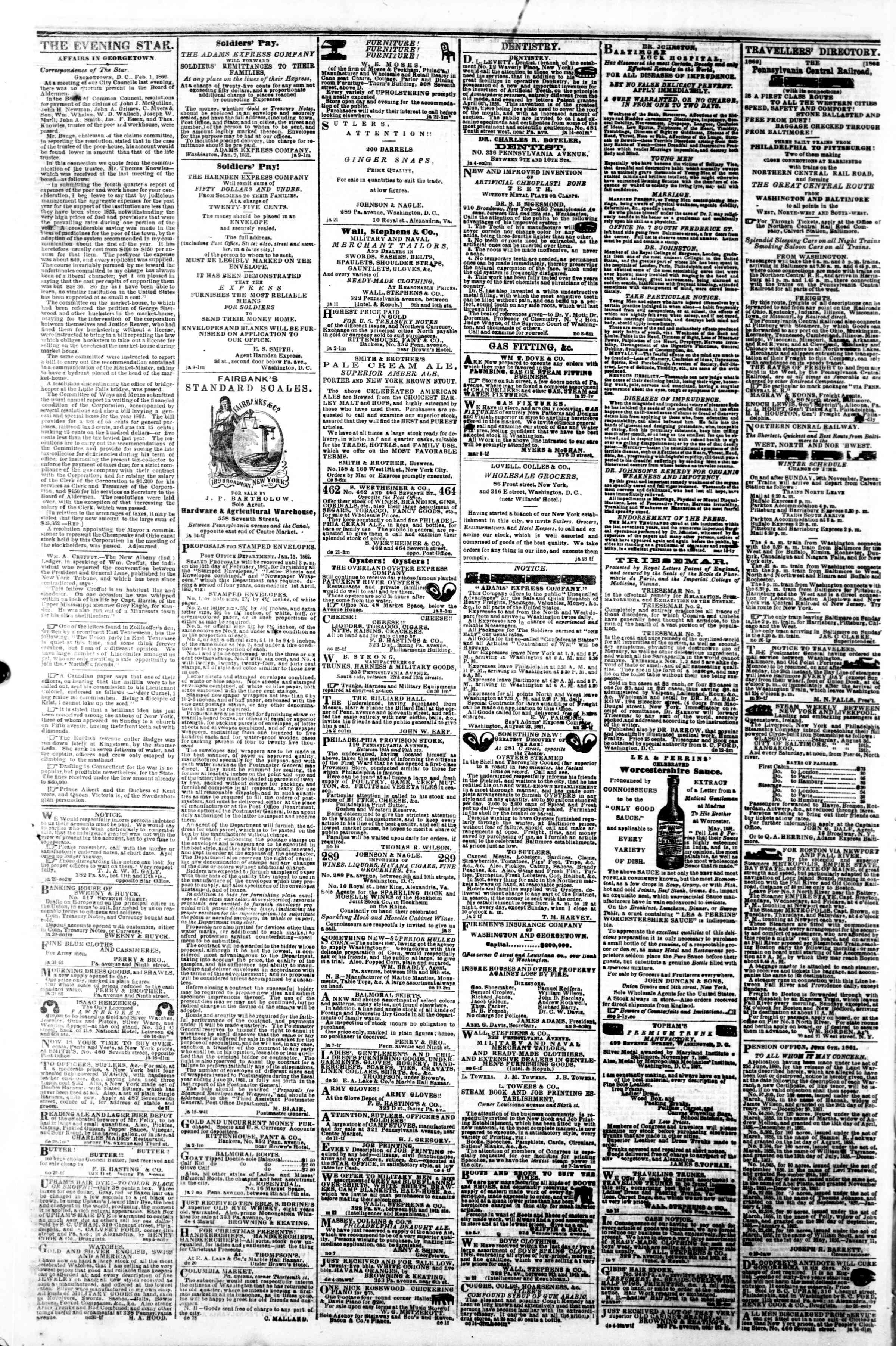 Newspaper of Evening Star dated February 4, 1862 Page 4