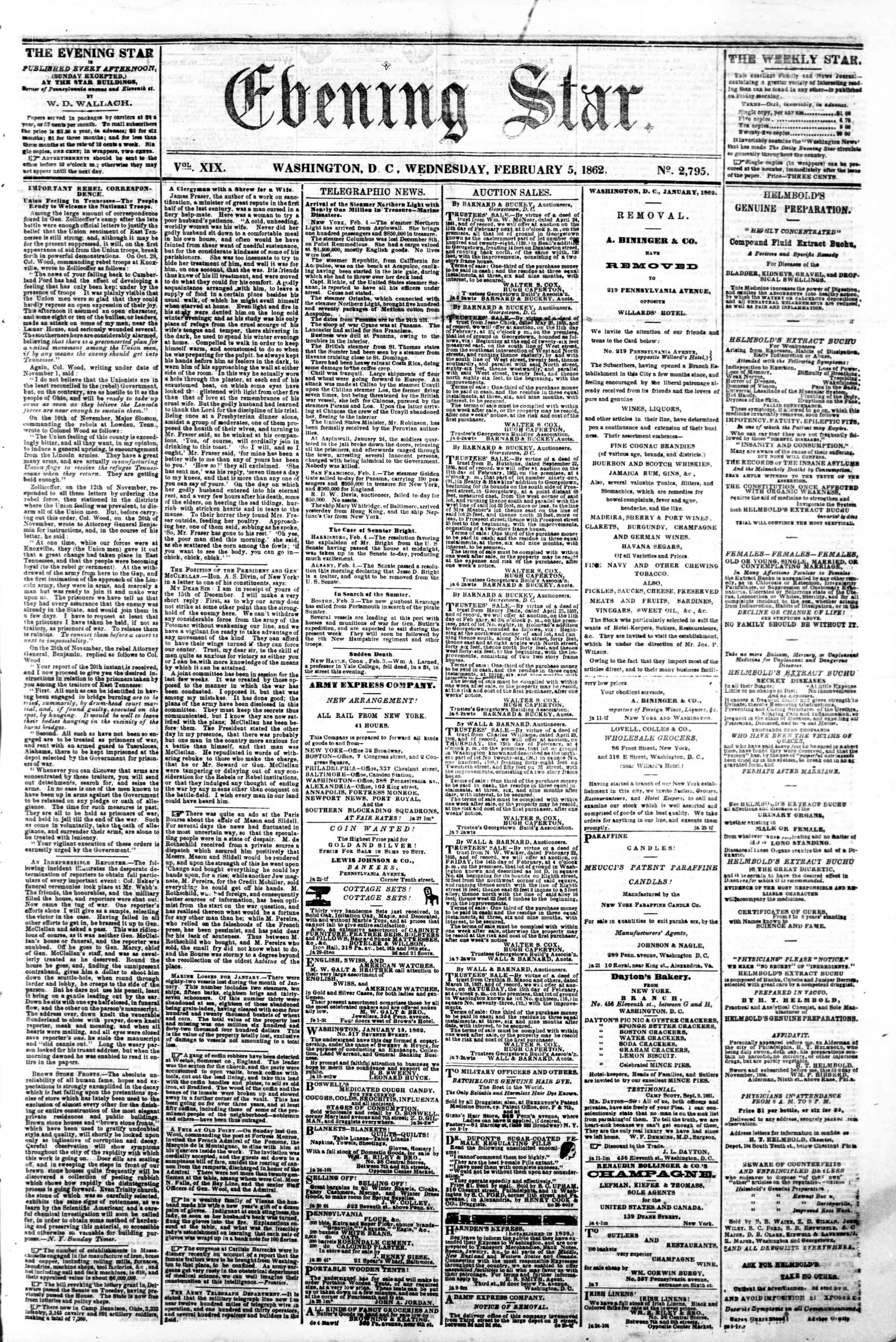 Newspaper of Evening Star dated February 5, 1862 Page 1
