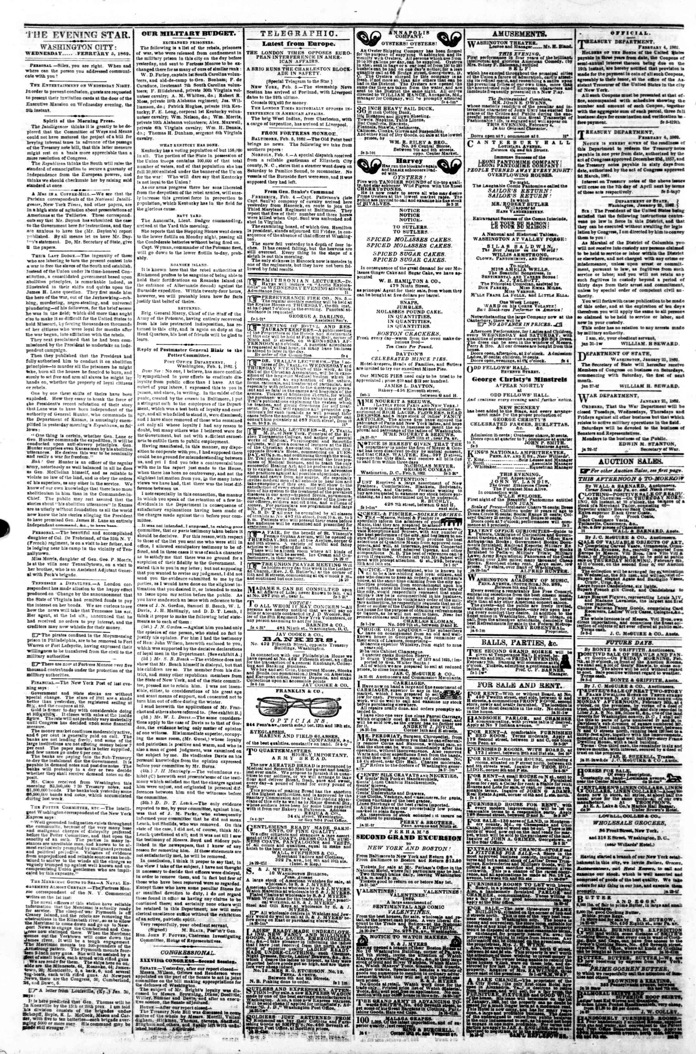 Newspaper of Evening Star dated February 5, 1862 Page 2