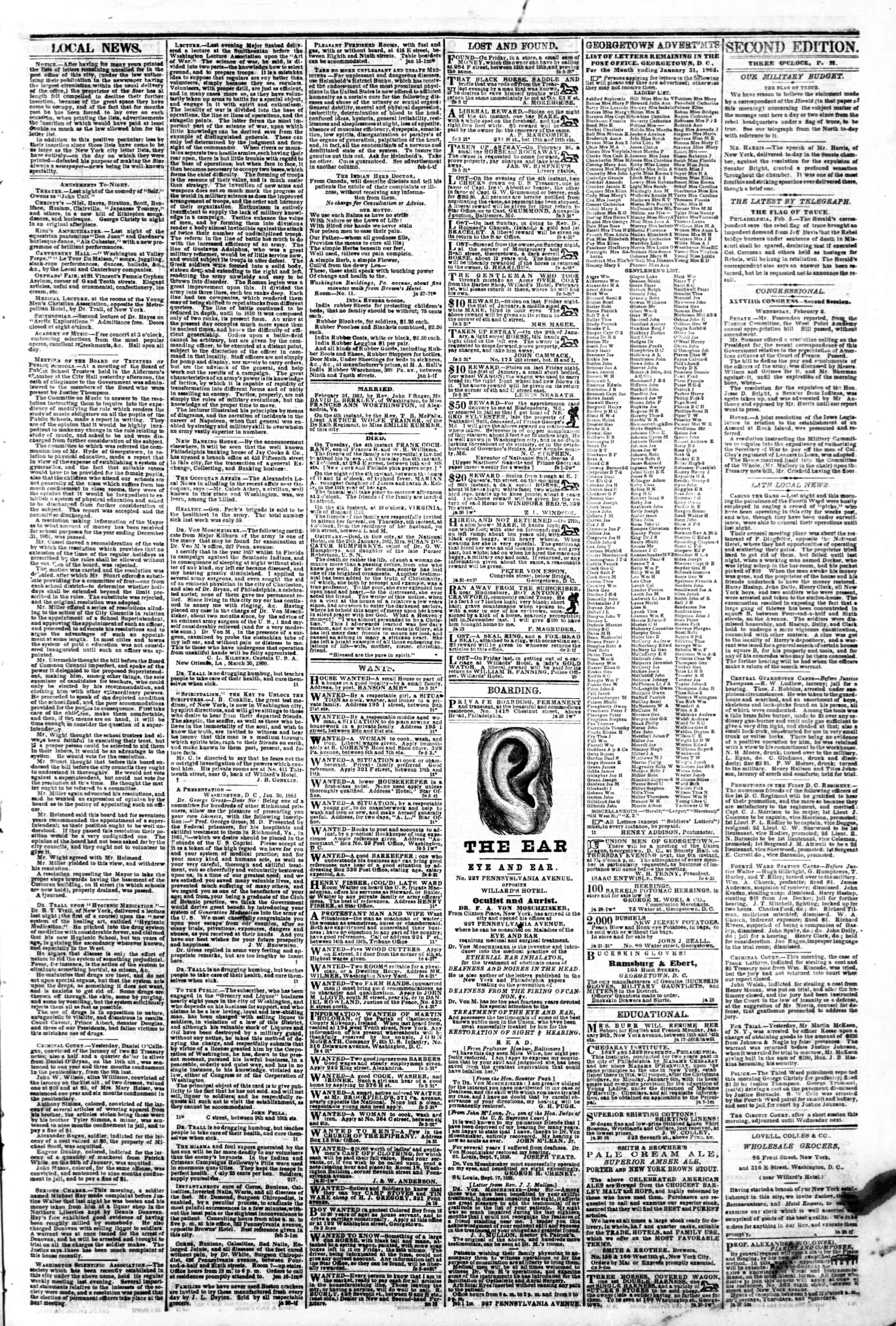 Newspaper of Evening Star dated February 5, 1862 Page 3