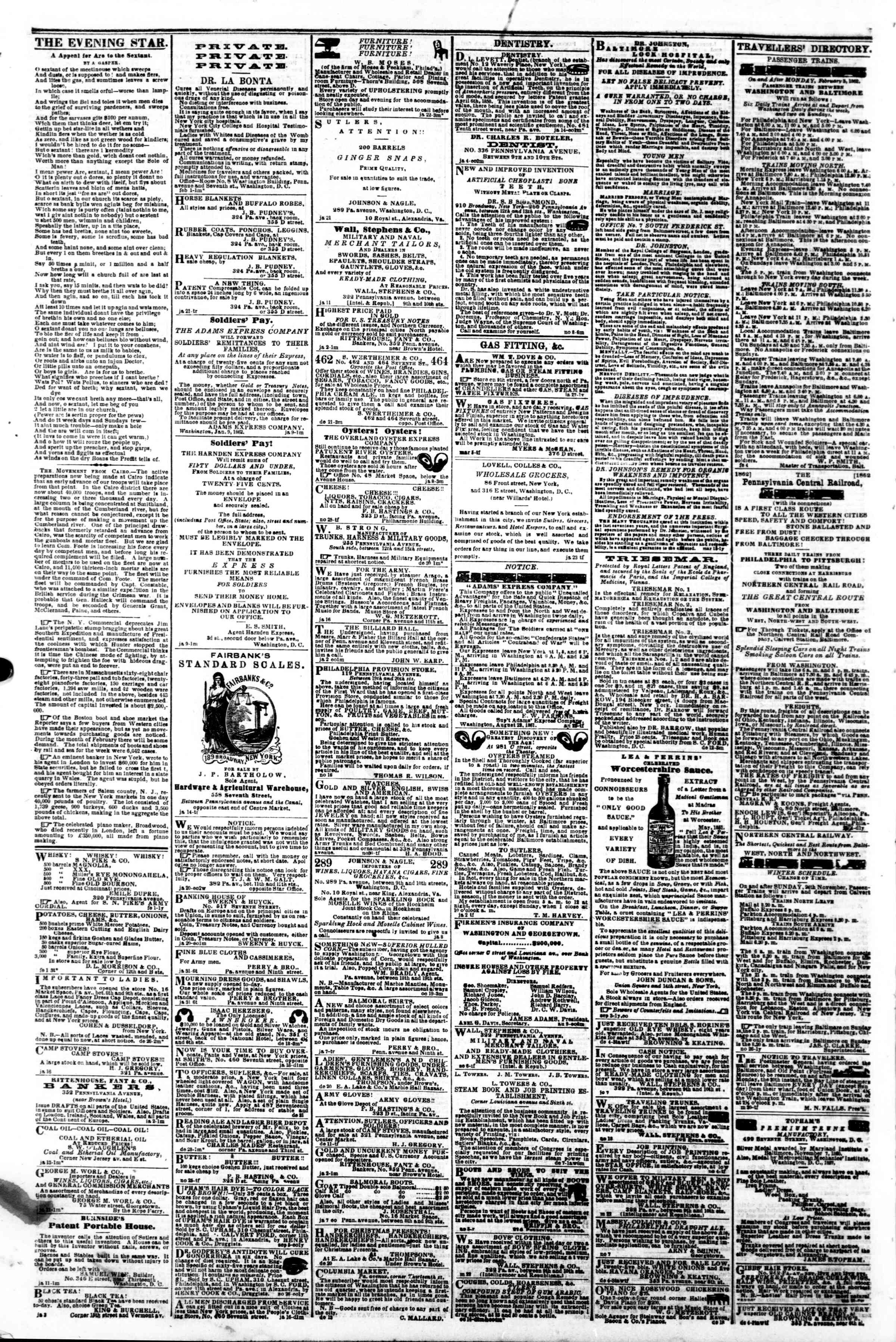 Newspaper of Evening Star dated February 5, 1862 Page 4