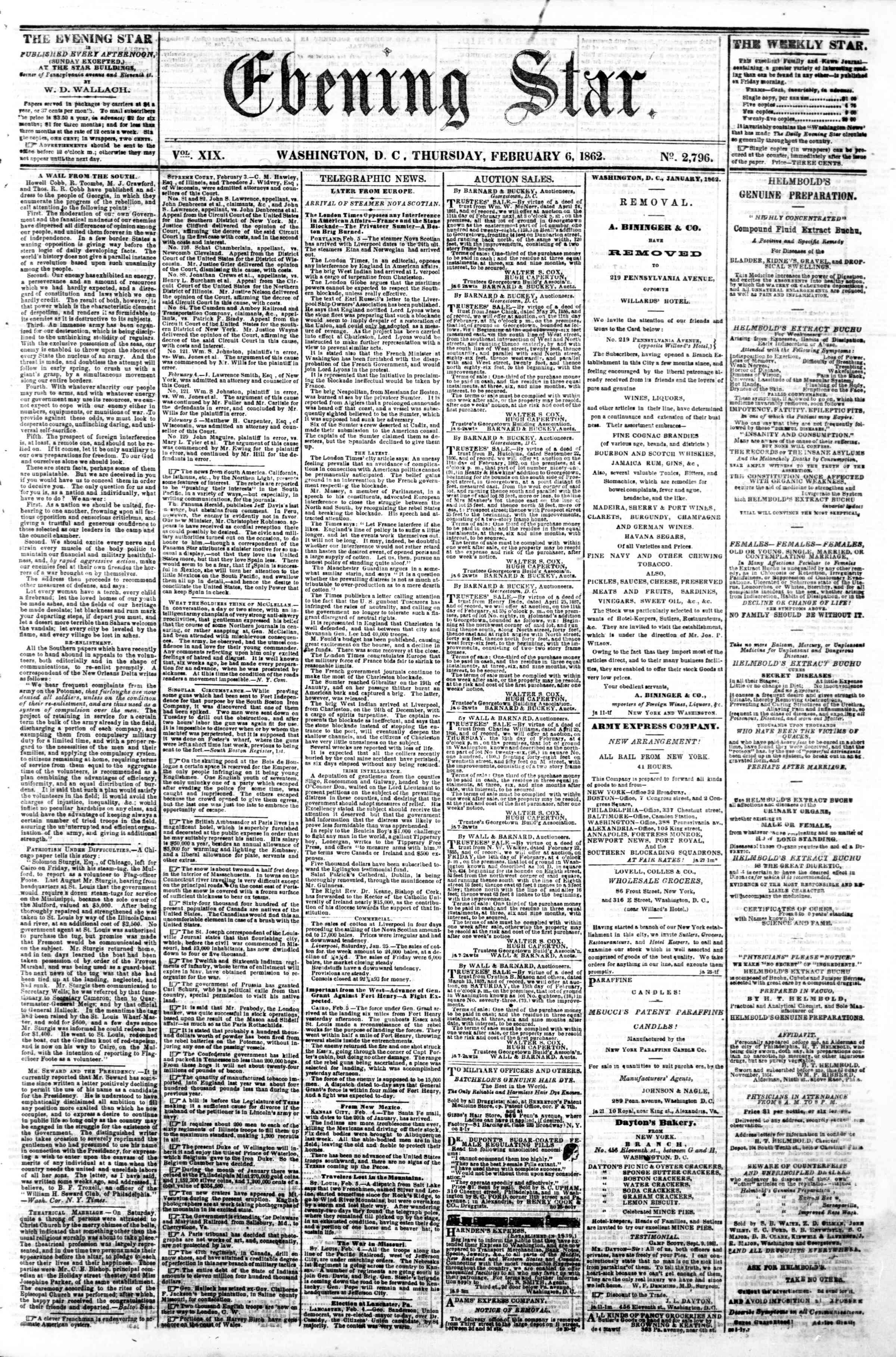 Newspaper of Evening Star dated February 6, 1862 Page 1